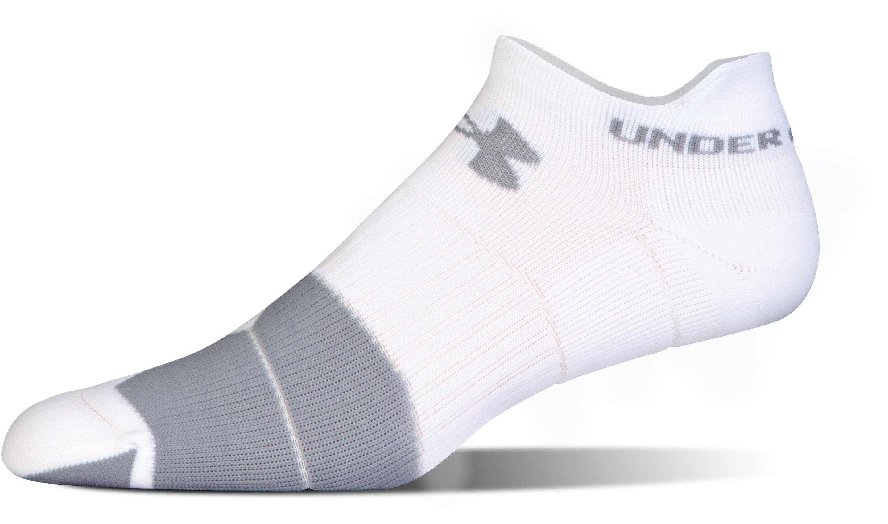 UA Run Cushion No Show Socks, White,