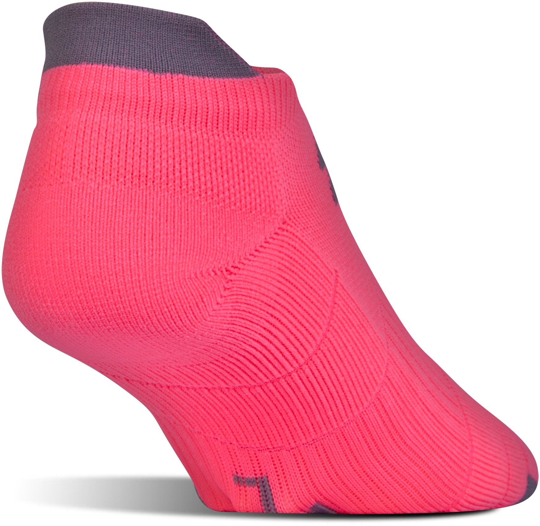 UA Run Cushion No Show Socks, PINK SHOCK,