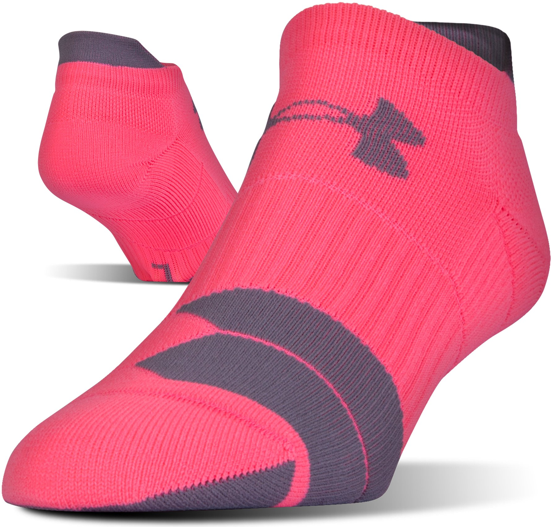 UA Run Cushion No Show Socks, PINK SHOCK