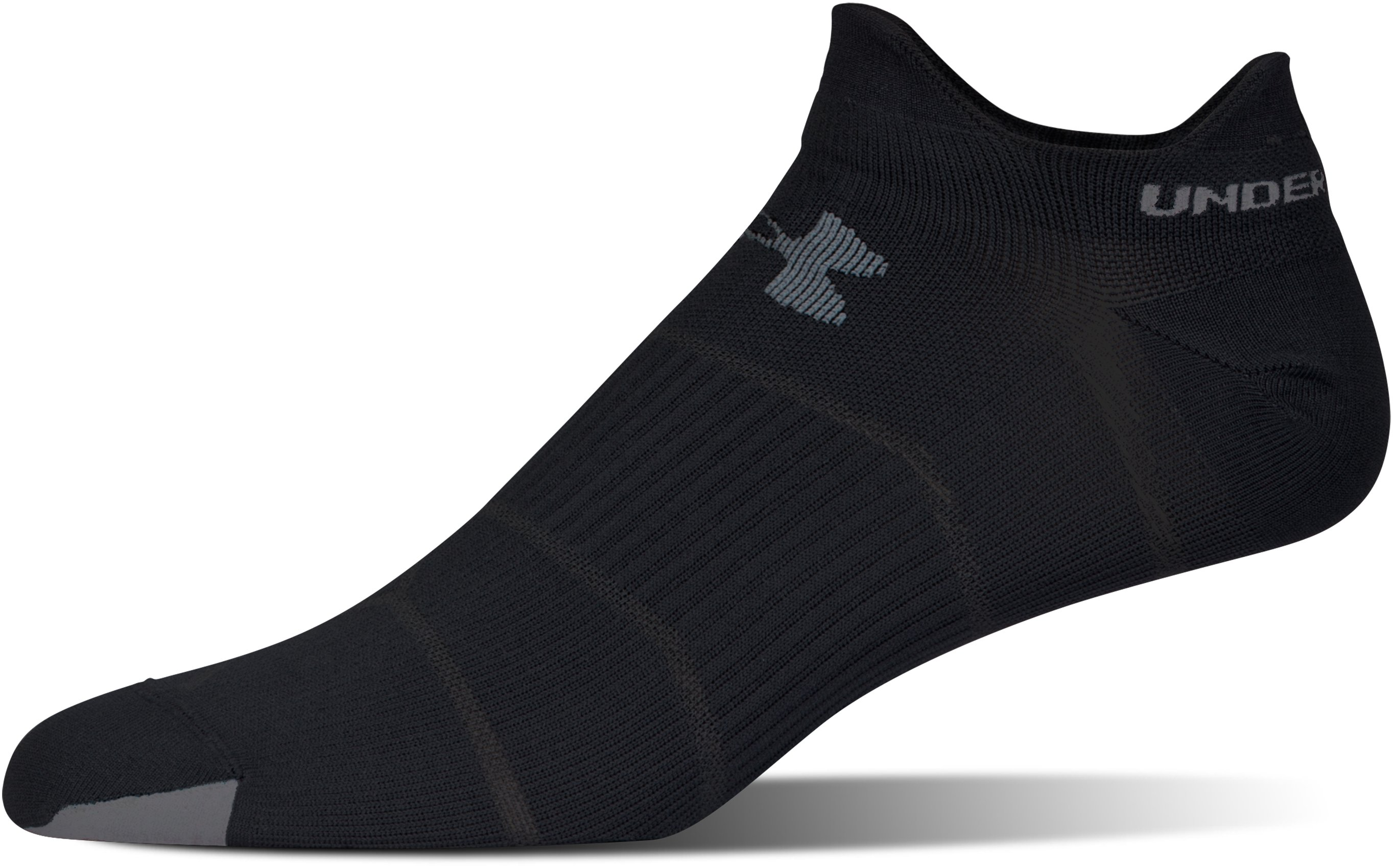 Men's UA Run Fast Double Tab Socks, Black ,