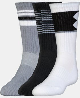 New Arrival Boys' UA Phenom Crew Socks – 3 Pack  1 Color $18.99