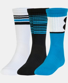 New Arrival Boys' UA Phenom Crew Socks – 3 Pack   $18.99