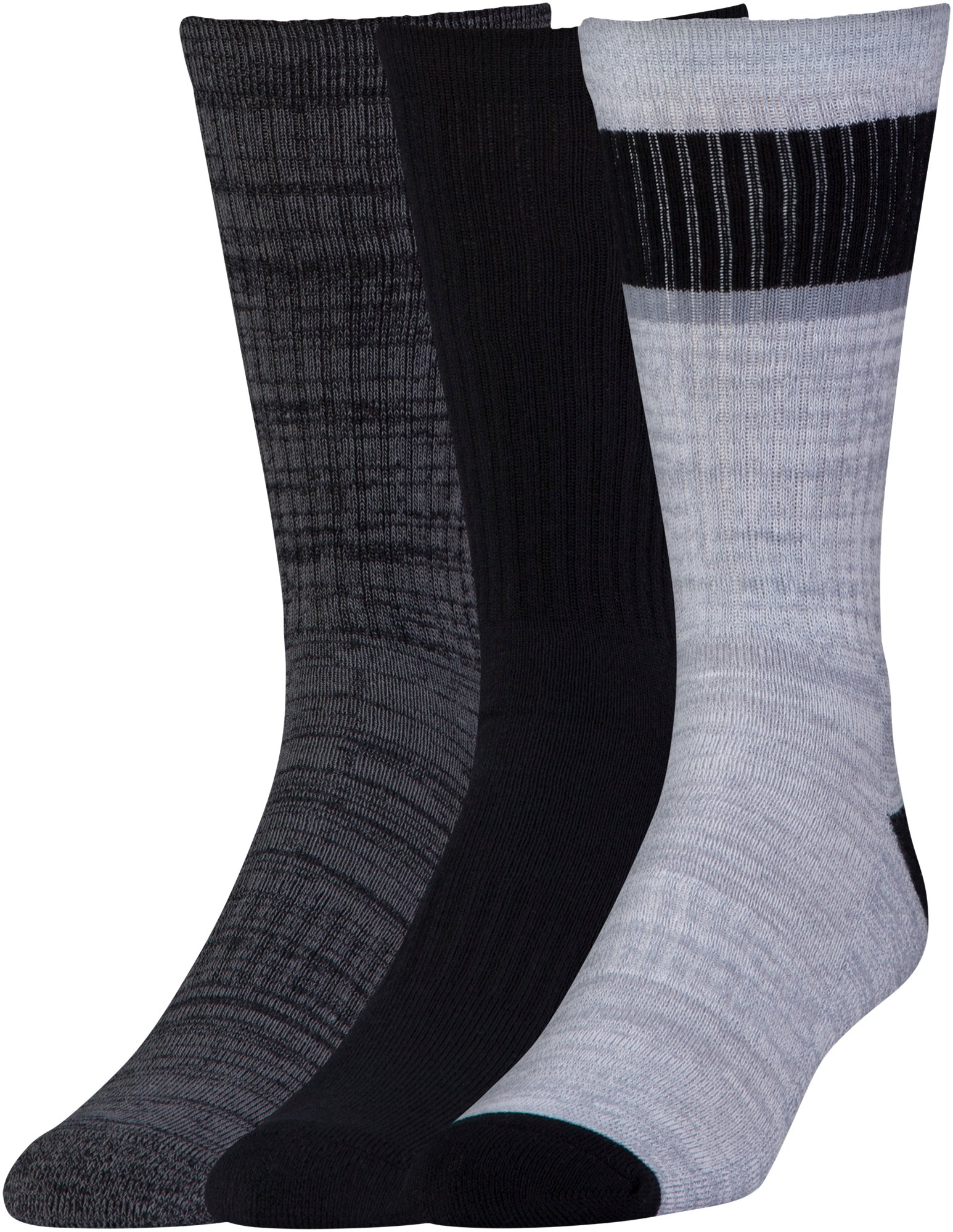 Men's UA Twisted 2.0 Crew Socks - 3 Pack , Black , zoomed image
