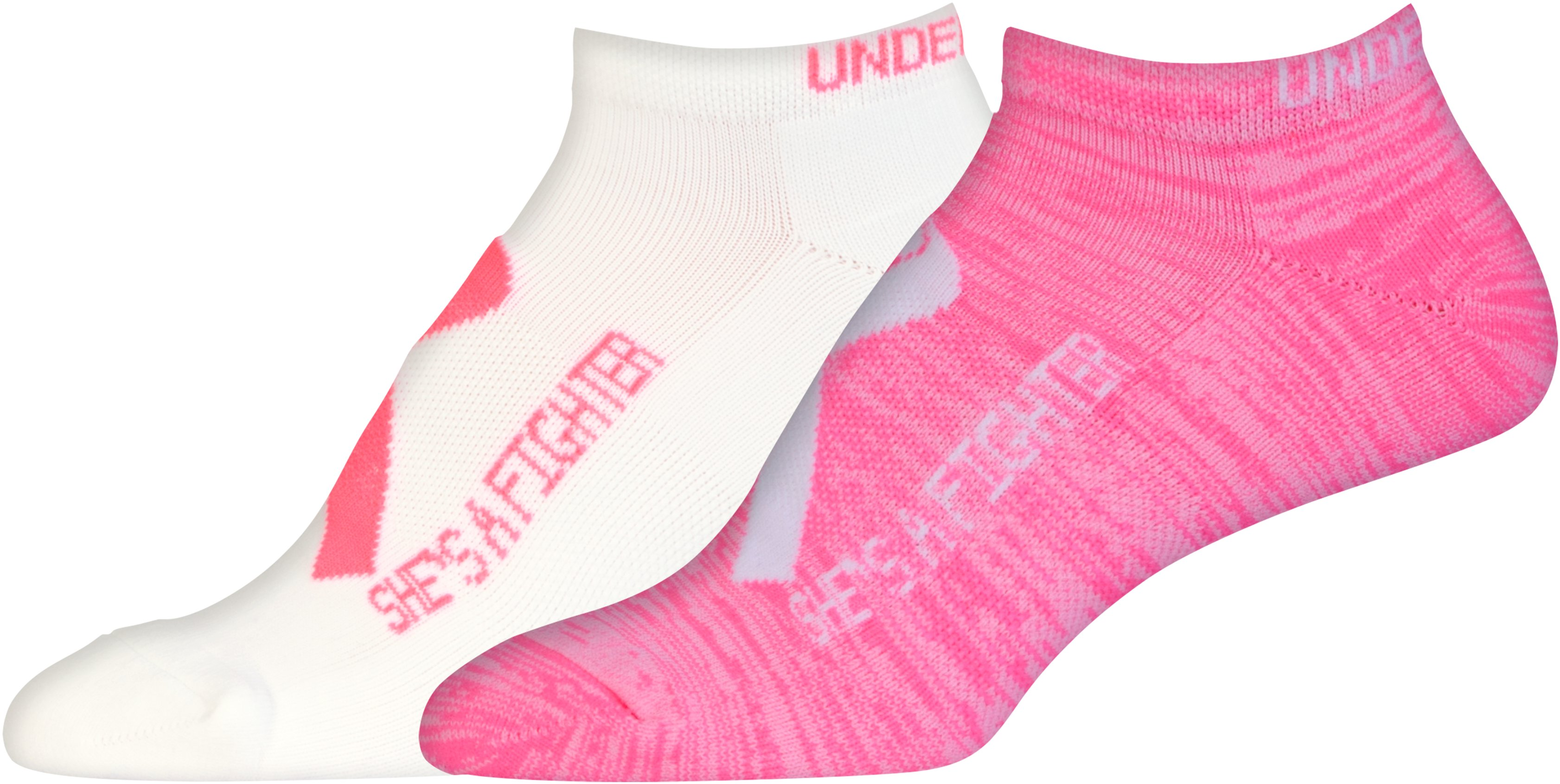 Women's UA Power In Pink® 2.0 No Show Socks – 2 Pack, White, undefined