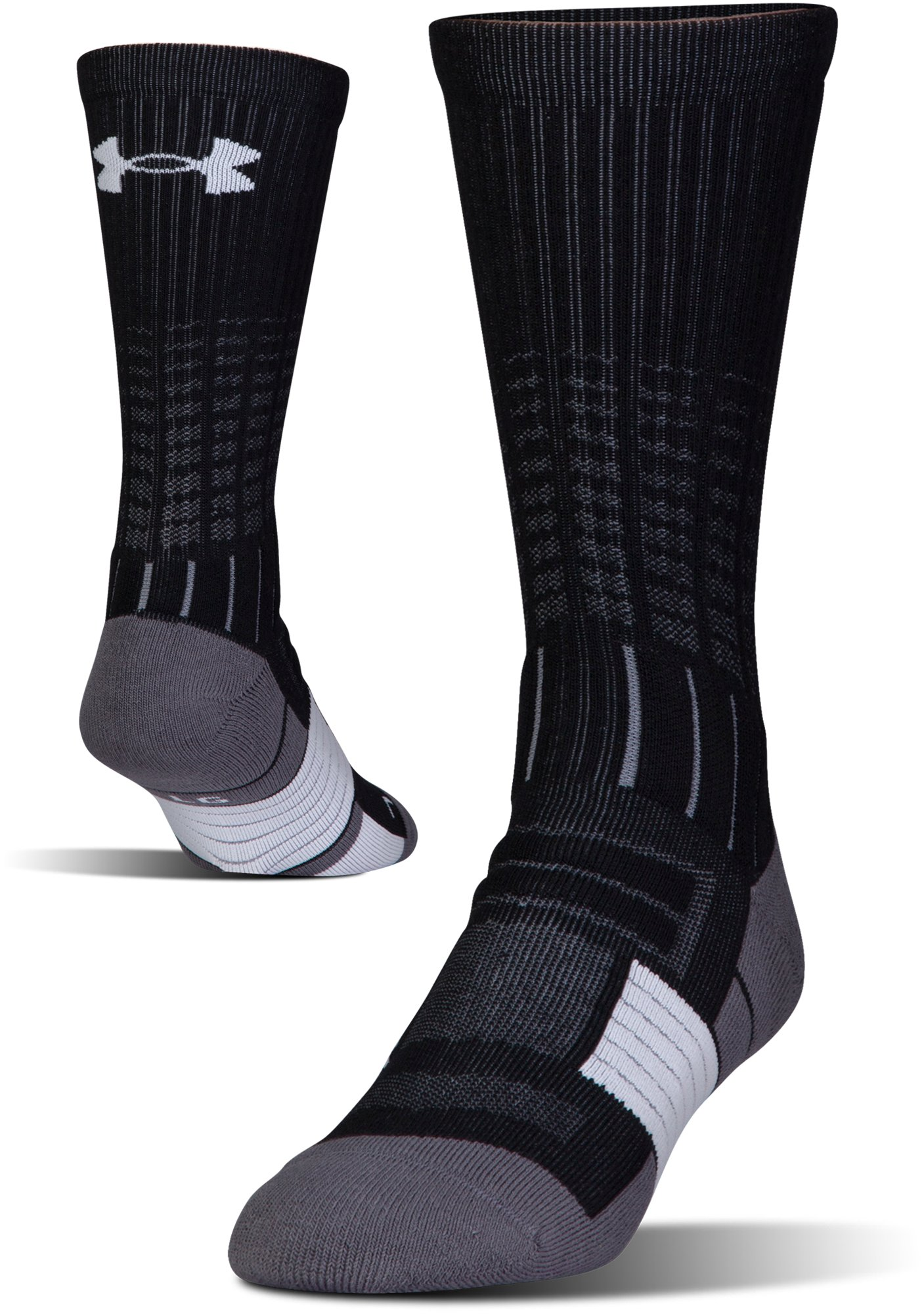 Men's UA Unrivaled Crew Socks, Black ,