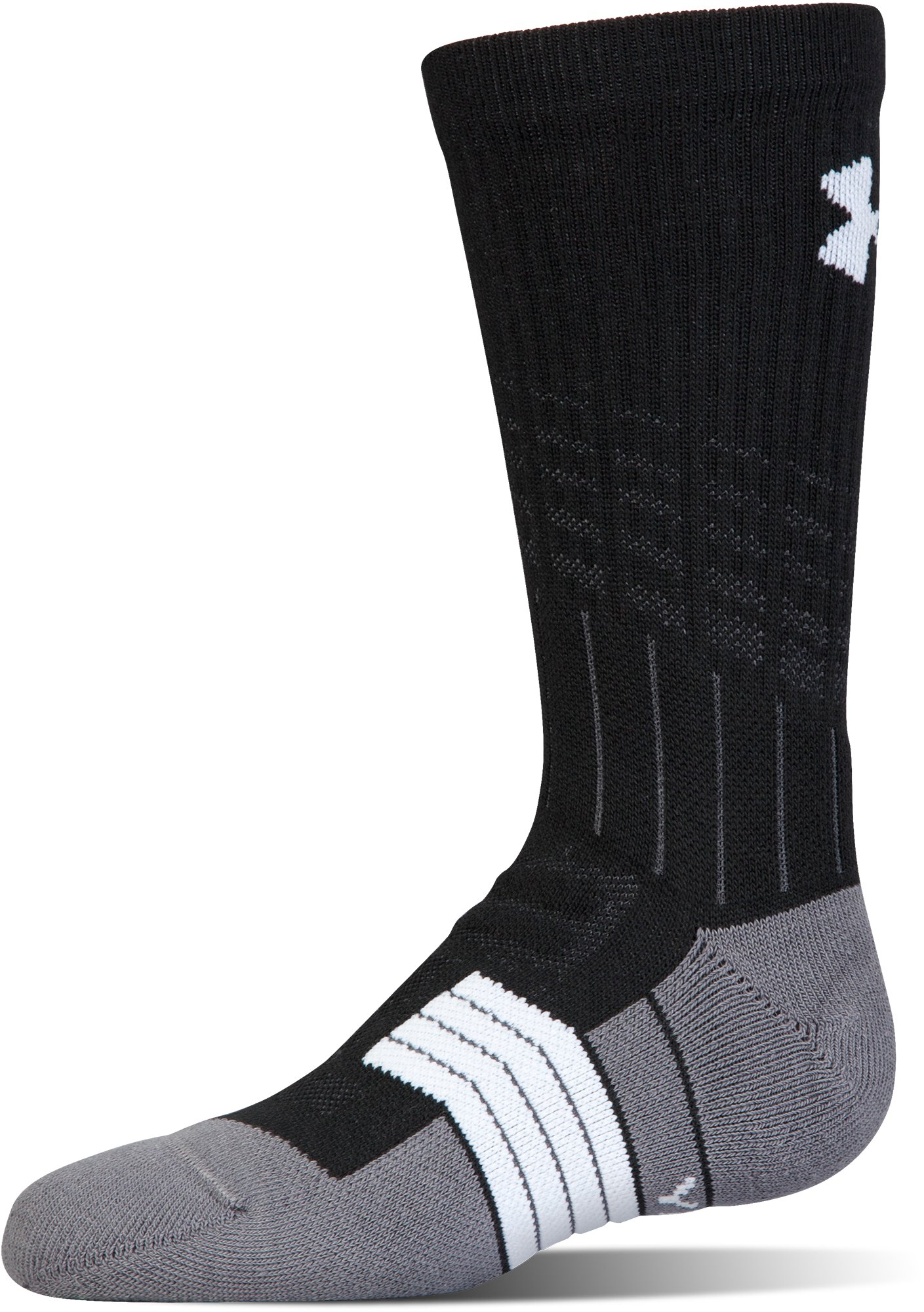 Boys' UA Unrivaled Crew Socks, Black , undefined