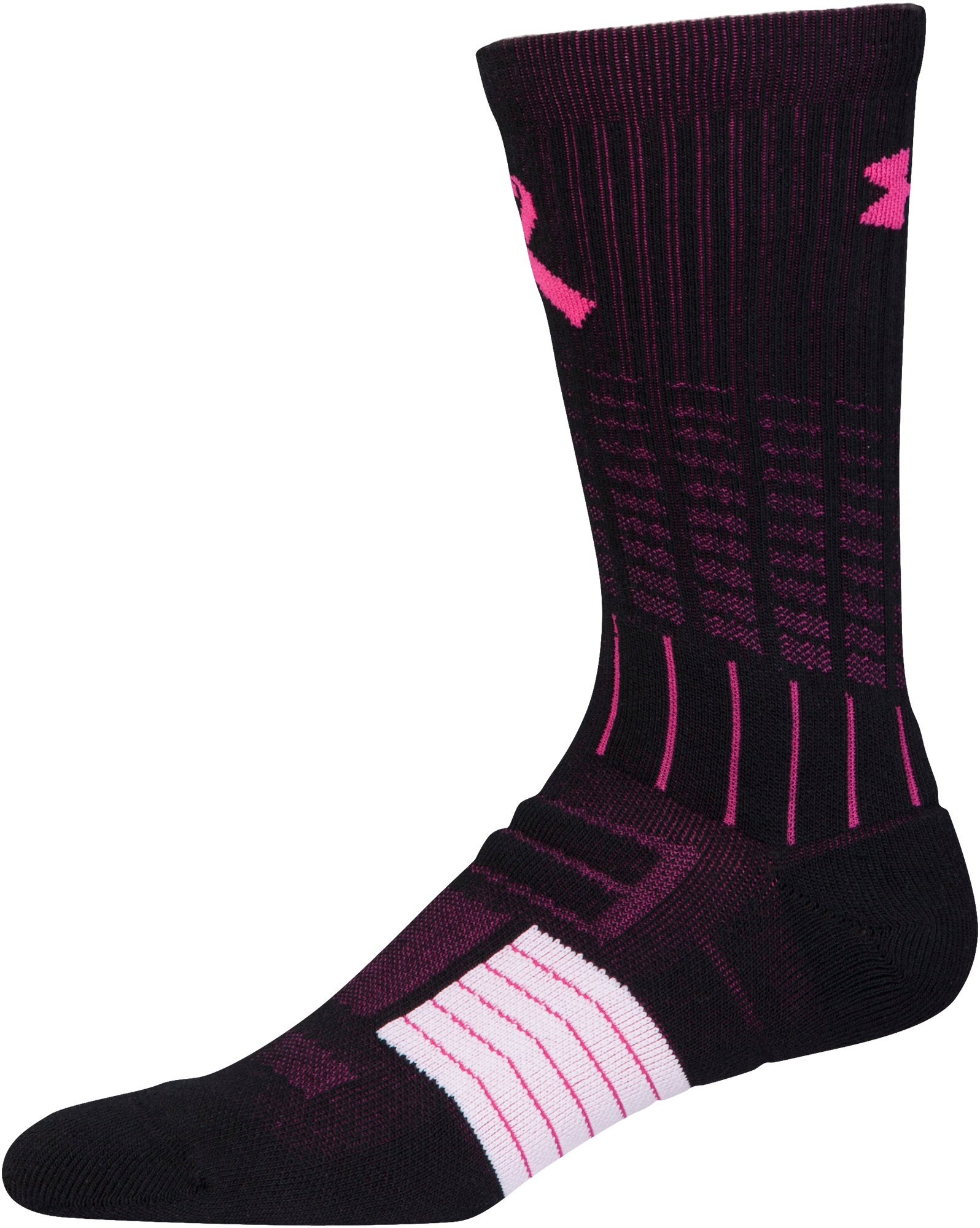 UA Power In Pink® Unrivaled Crew Socks, Black , undefined