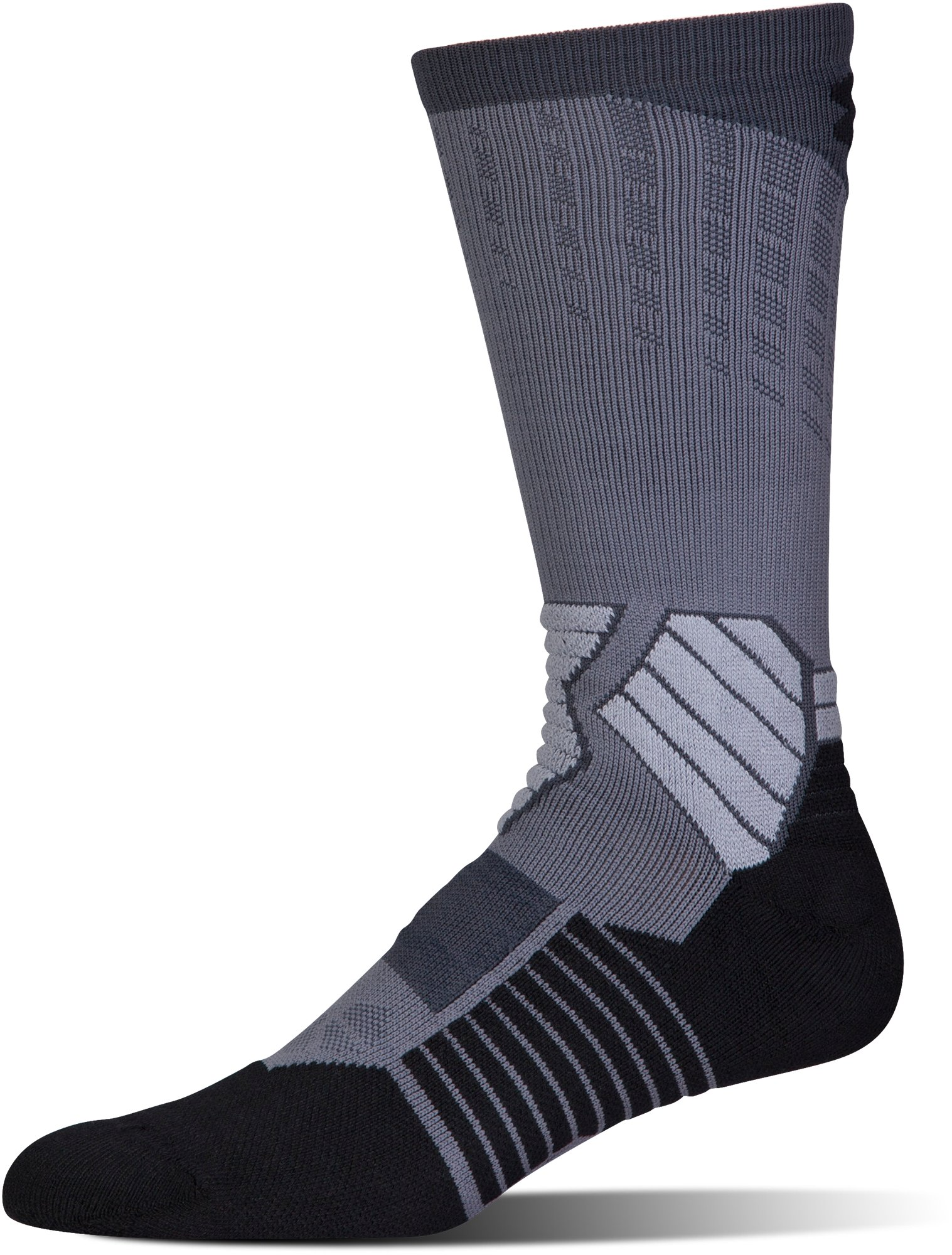 Men's UA Basketball Drive Crew Socks, Graphite, undefined