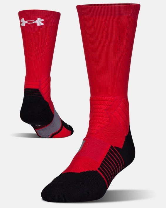 Men's UA Basketball Drive Crew Socks, Red, pdpMainDesktop image number 4