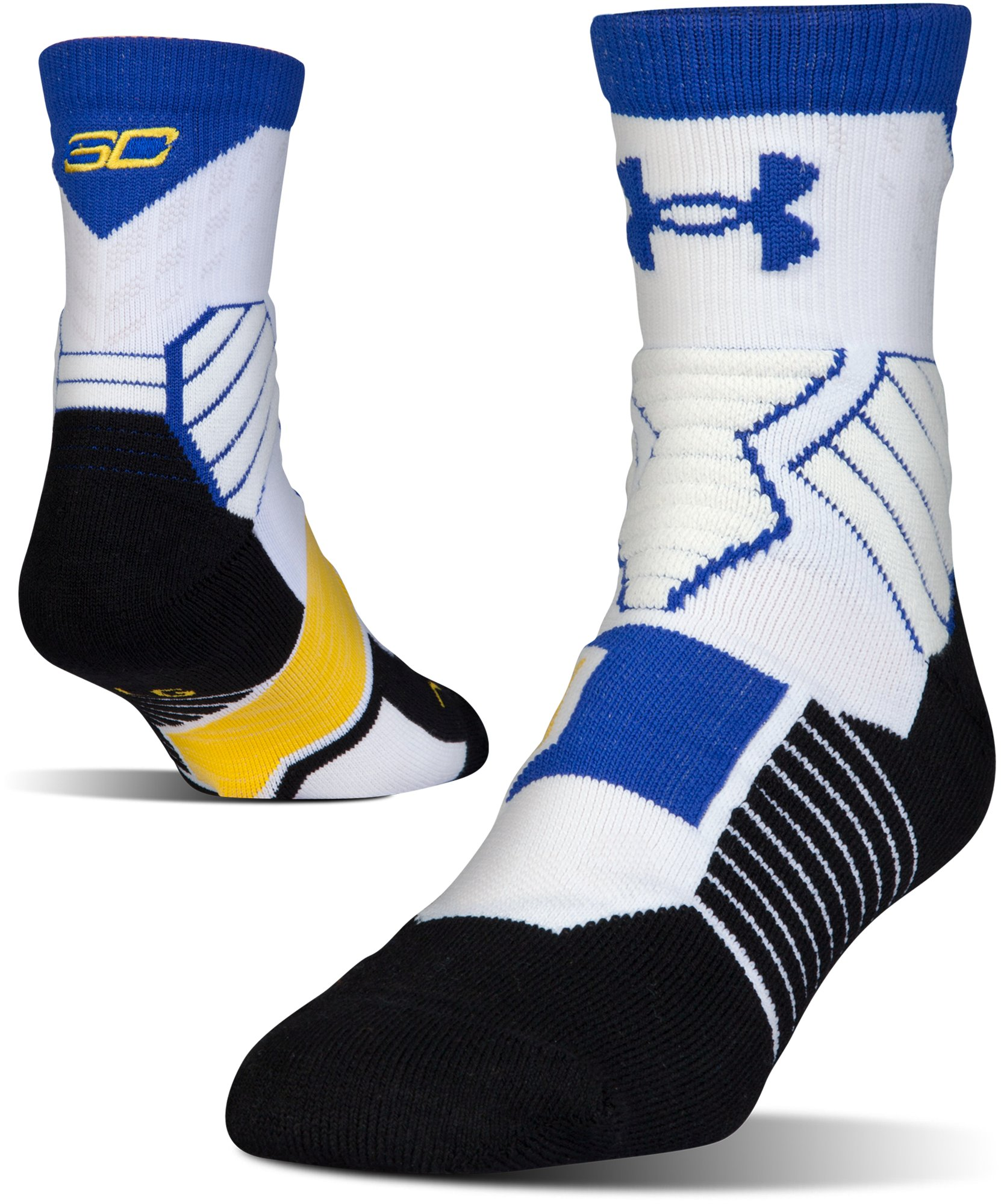 Men's UA Drive SC30 Mid Crew Basketball Socks, White, zoomed image