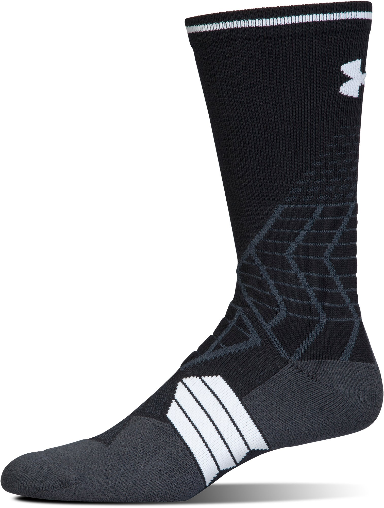 Men's UA Highlight Football Crew Socks, Black ,