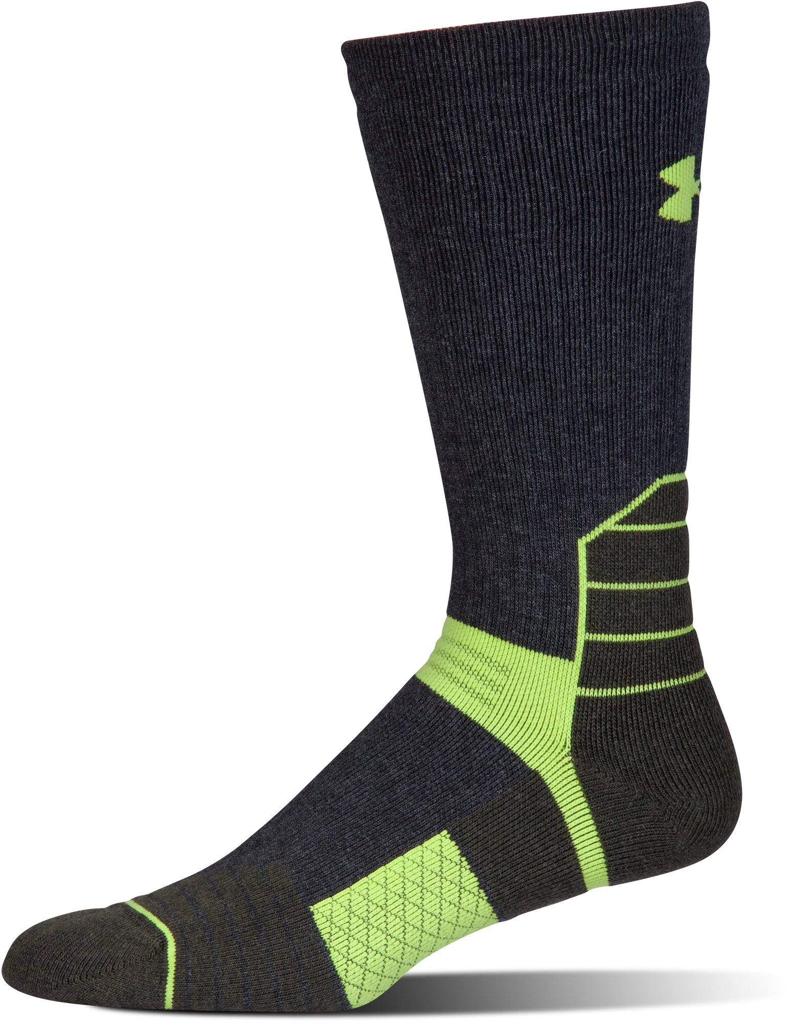 Men's UA Scent Control Boot Socks, Asphalt Heather,