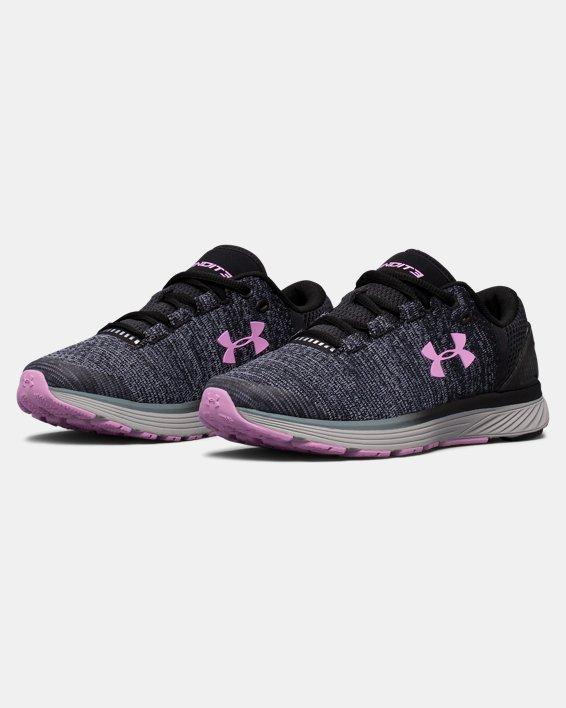 Girls' Grade School UA Charged Bandit 3 Running Shoes, Black, pdpMainDesktop image number 4