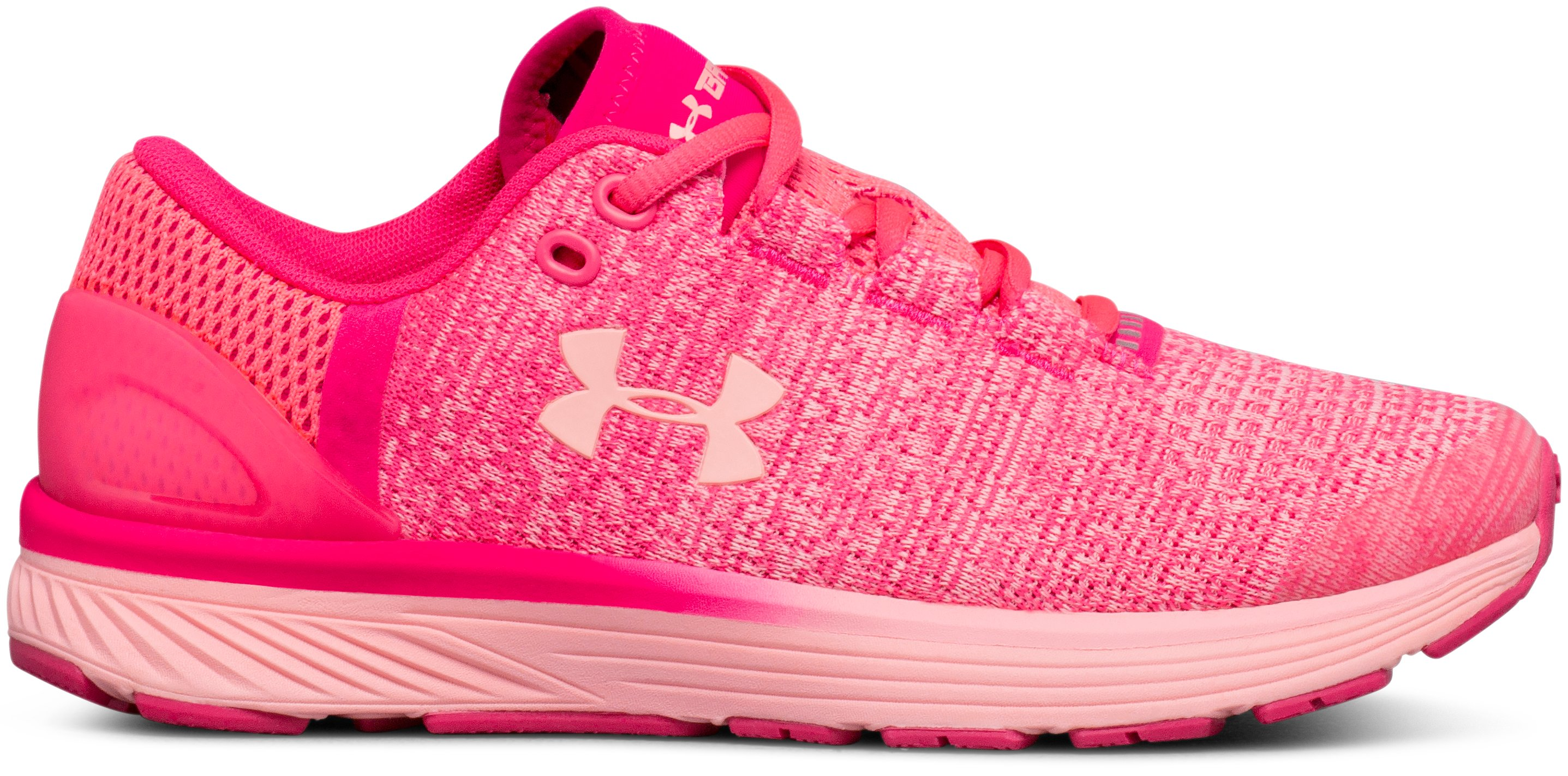 Girls' Grade School UA Charged Bandit 3 Running Shoes, PENTA PINK