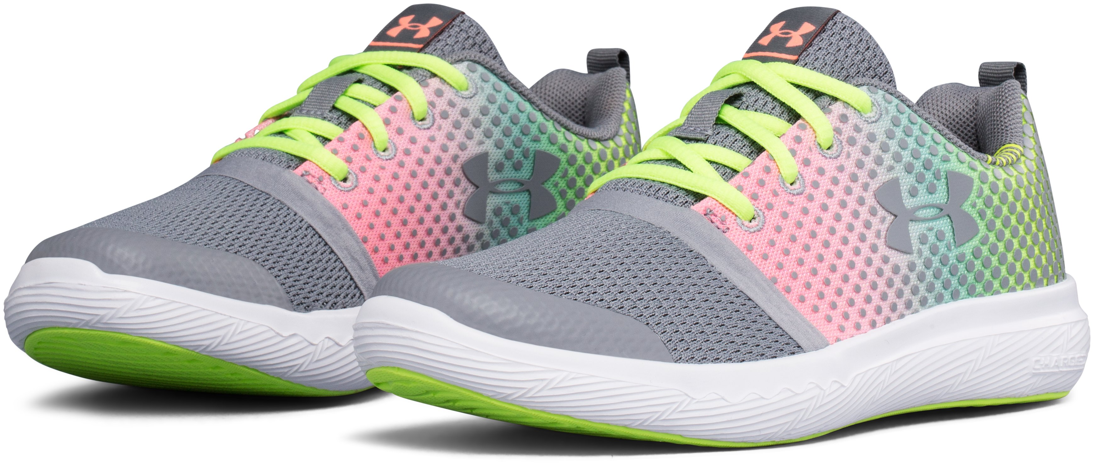 Girls' Pre-School UA Charged 24/7 Prism Running Shoes, Steel, undefined
