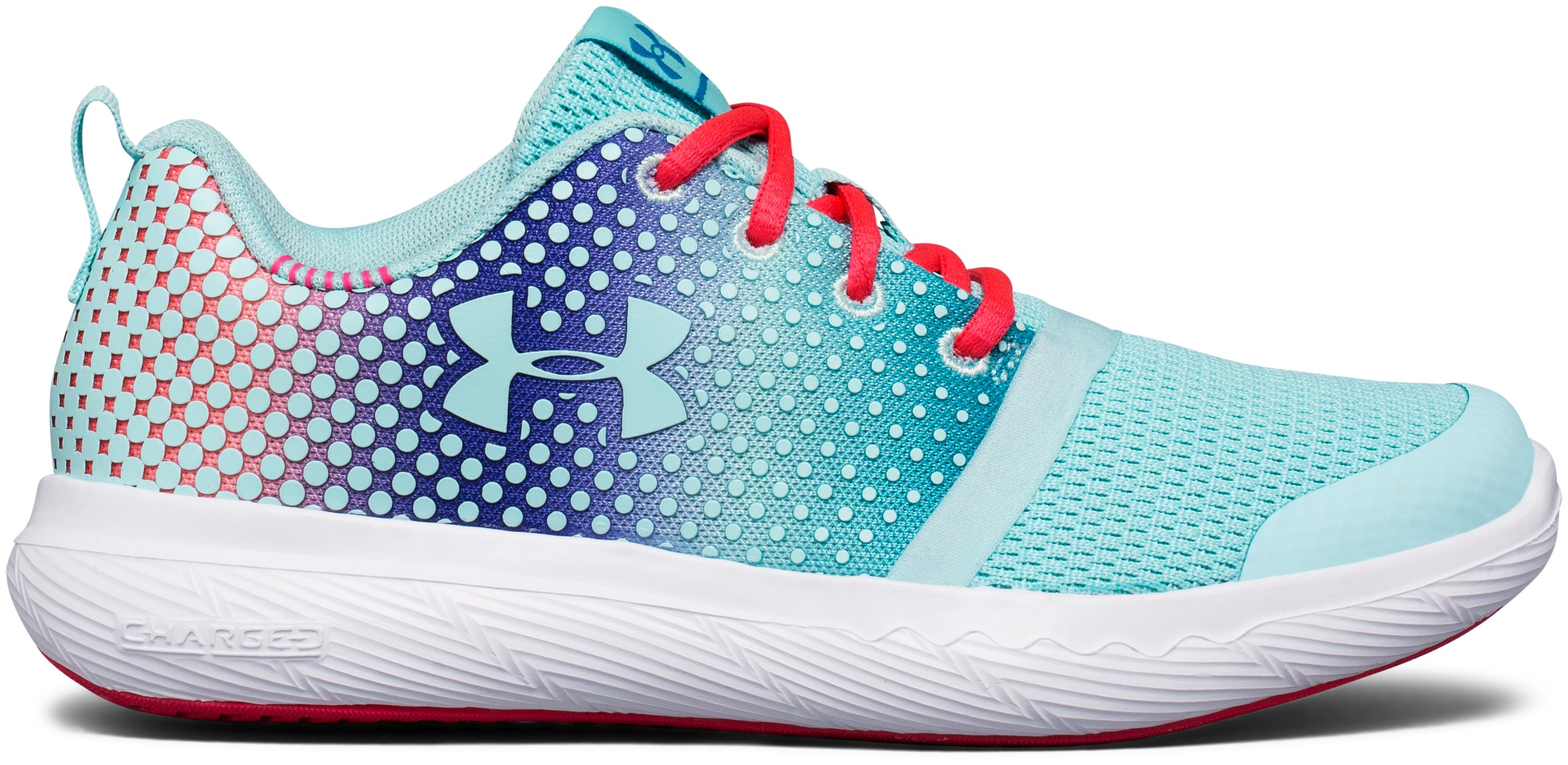 Girls' Pre-School UA Charged 24/7 Prism Running Shoes, BLUE INFINITY