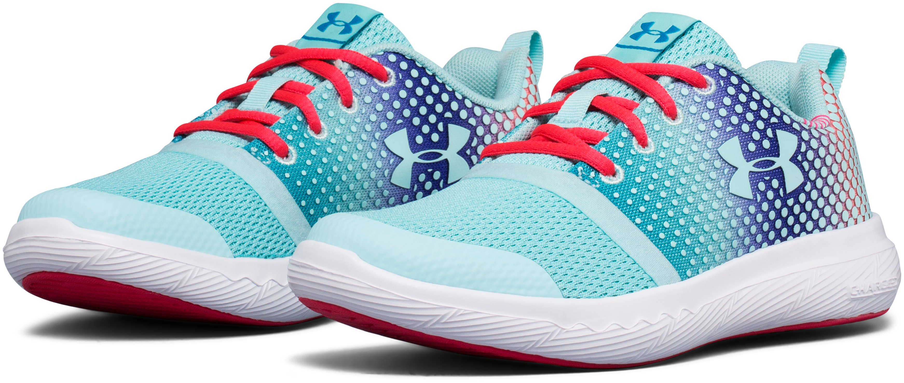 Girls' Pre-School UA Charged 24/7 Prism Running Shoes, BLUE INFINITY,