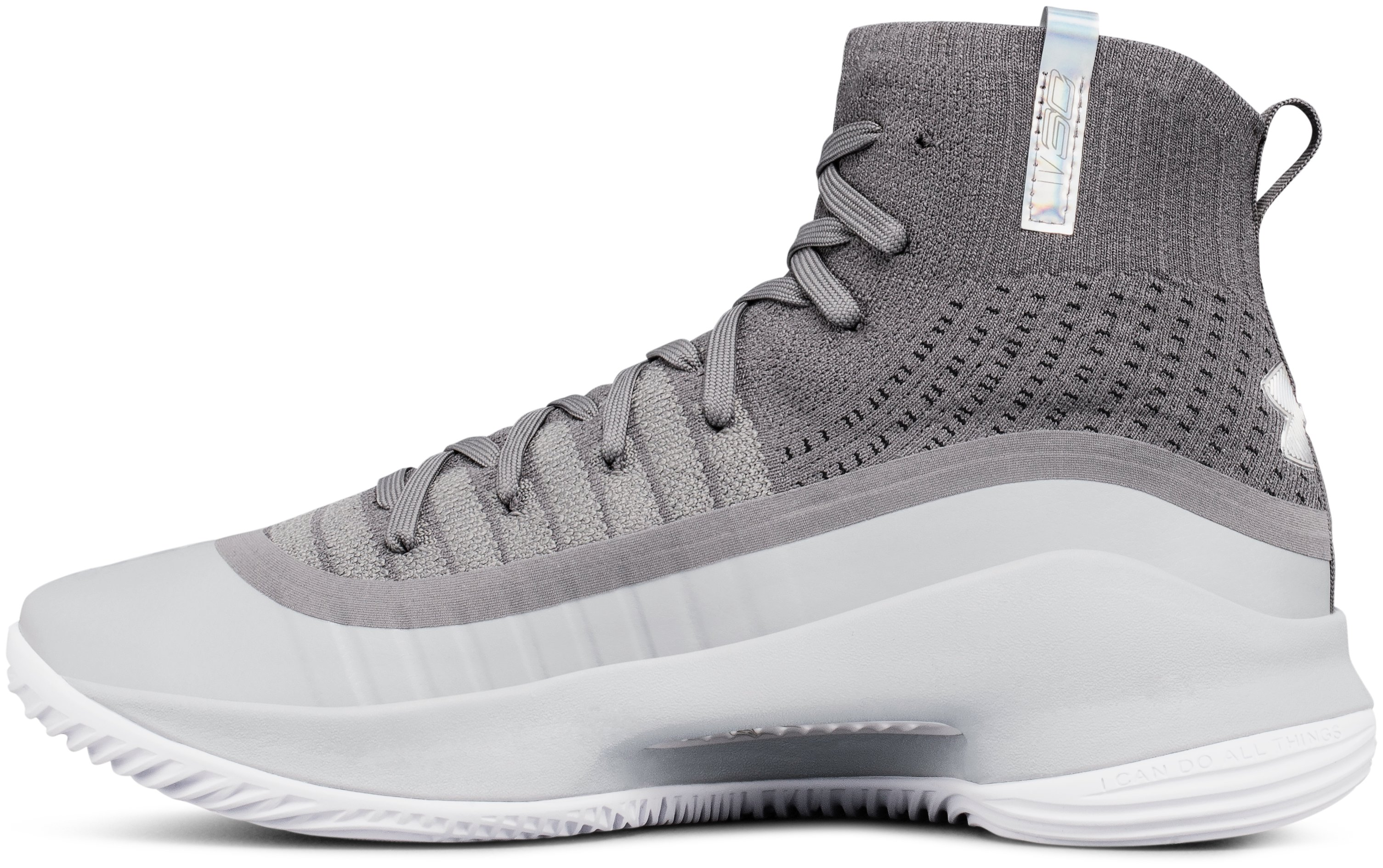Boys' Grade School UA Curry 4 Mid Basketball Shoes, OVERCAST GRAY, undefined