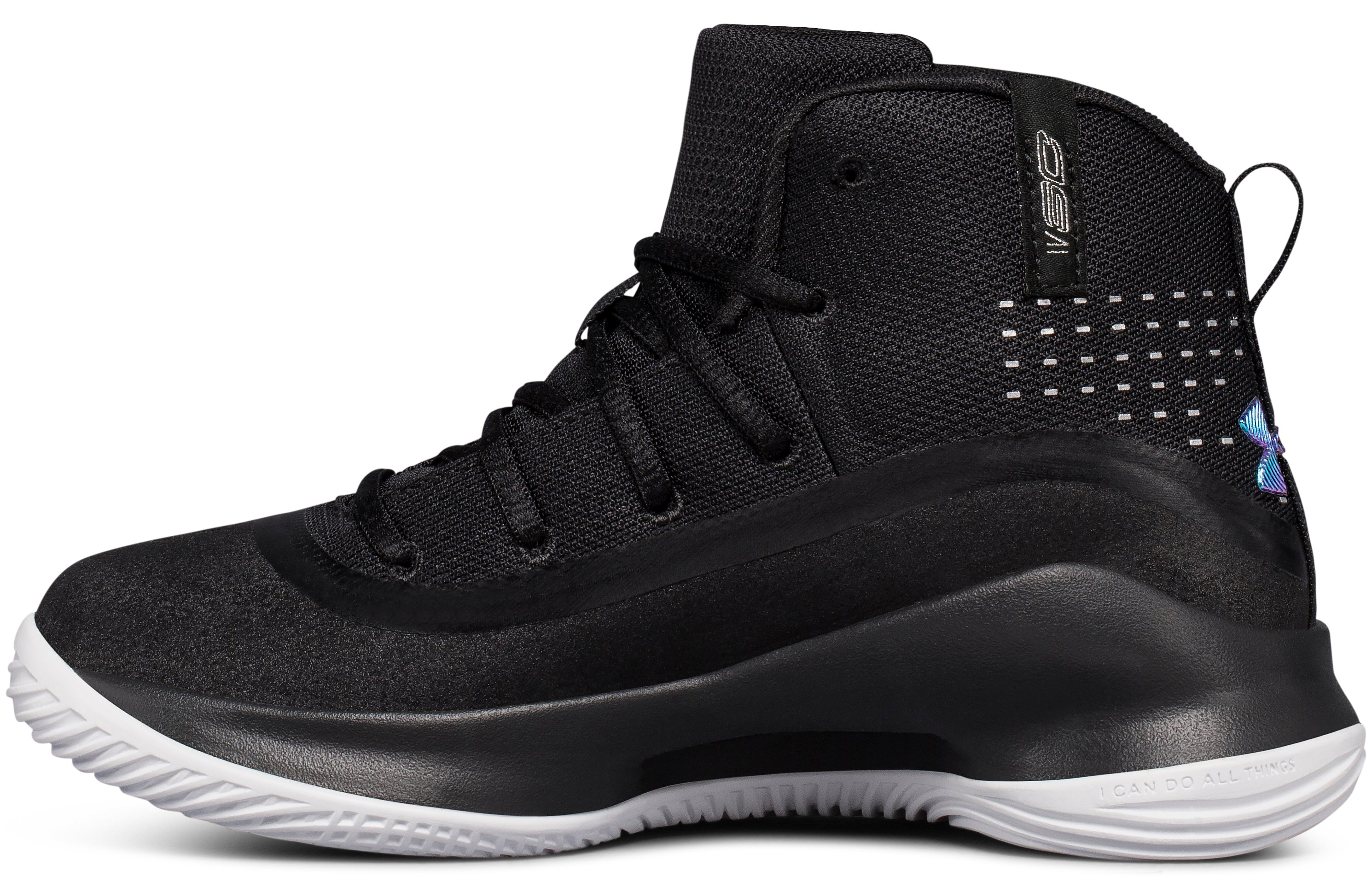Pre-School UA Curry 4 Mid Basketball Shoes, Black ,