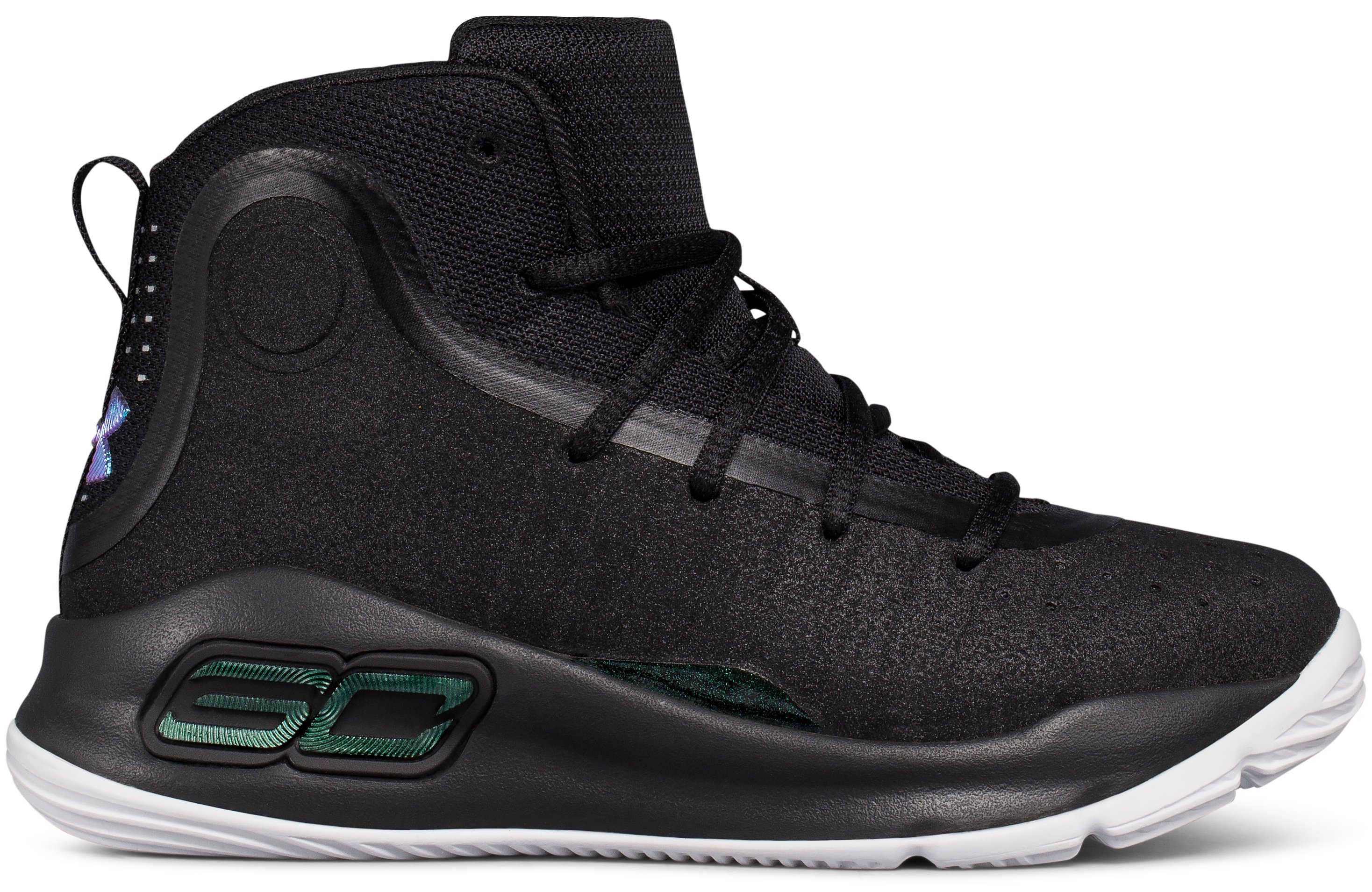 Pre-School UA Curry 4 Mid Basketball Shoes, Black