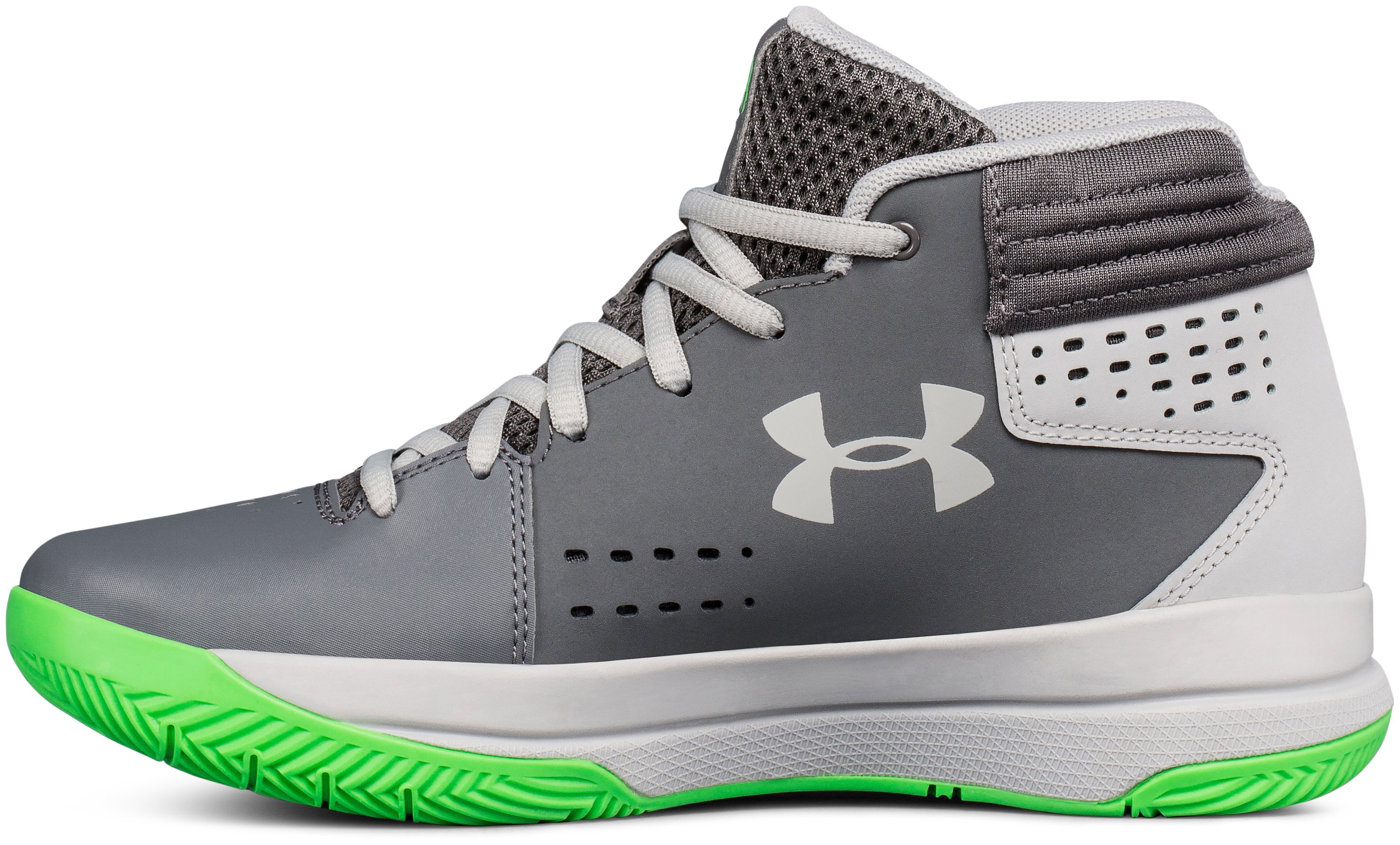 Boys' Grade School UA Jet 2017 Basketball Shoes, Graphite, undefined