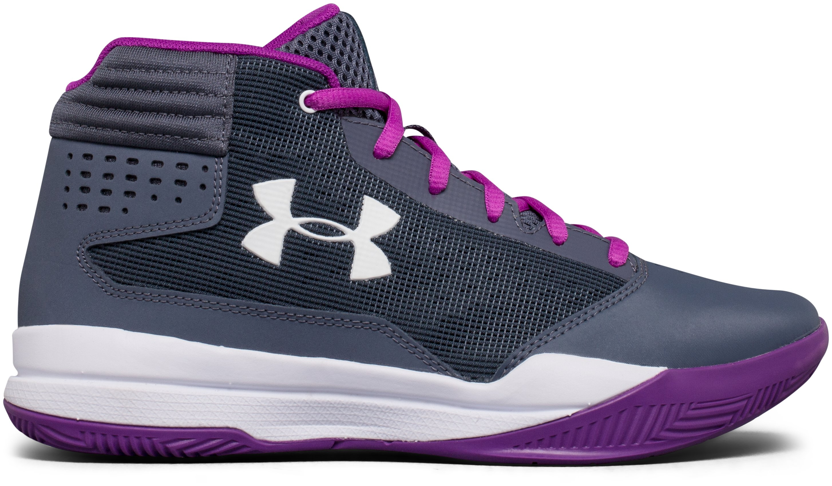 Girls' Grade School UA Jet 2017 Basketball Shoes, APOLLO GRAY