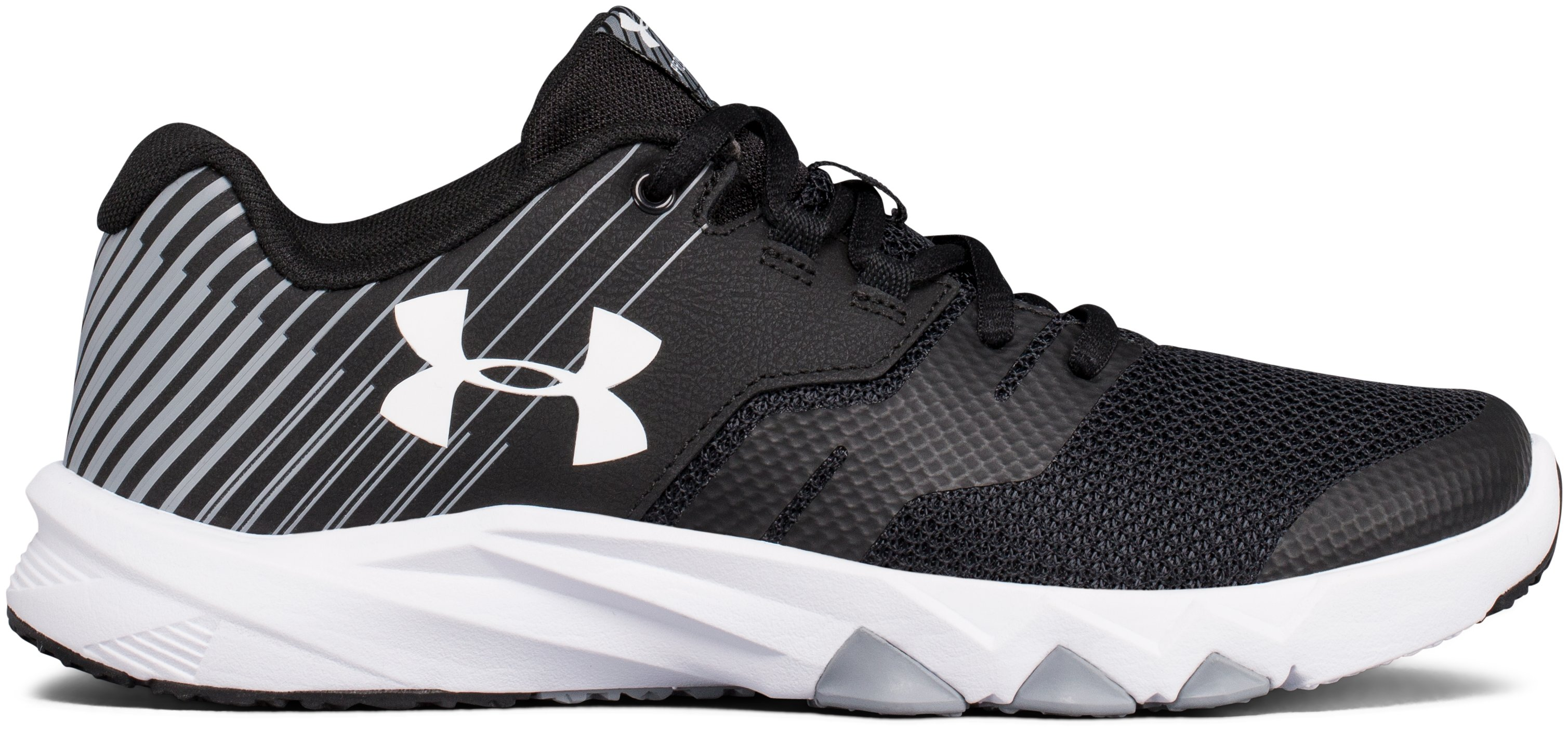 Boys' Grade School UA Primed 2 Running Shoes, Black ,