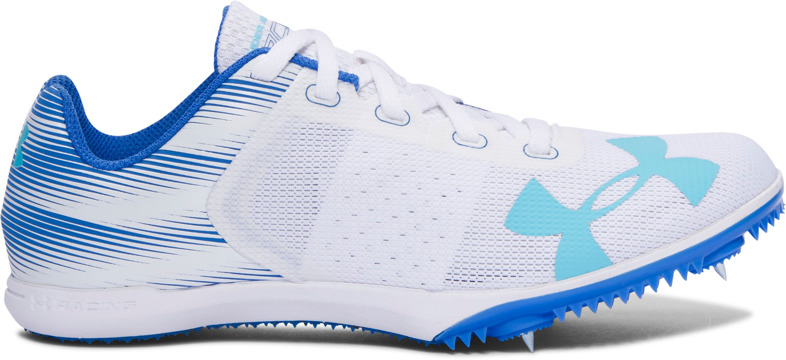 Women's UA Kick Distance Track Spikes, White, undefined