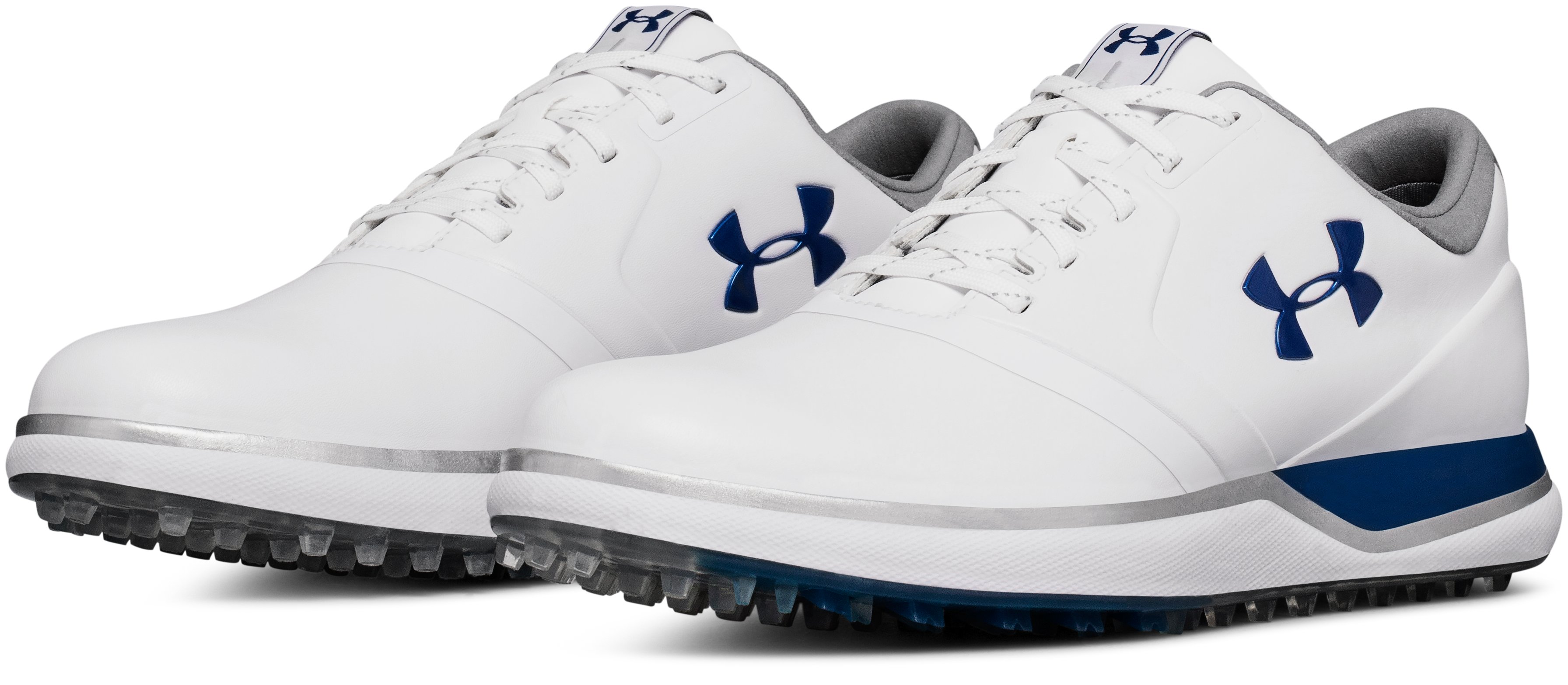 Women's UA Performance Spikeless Golf Shoes, White, undefined