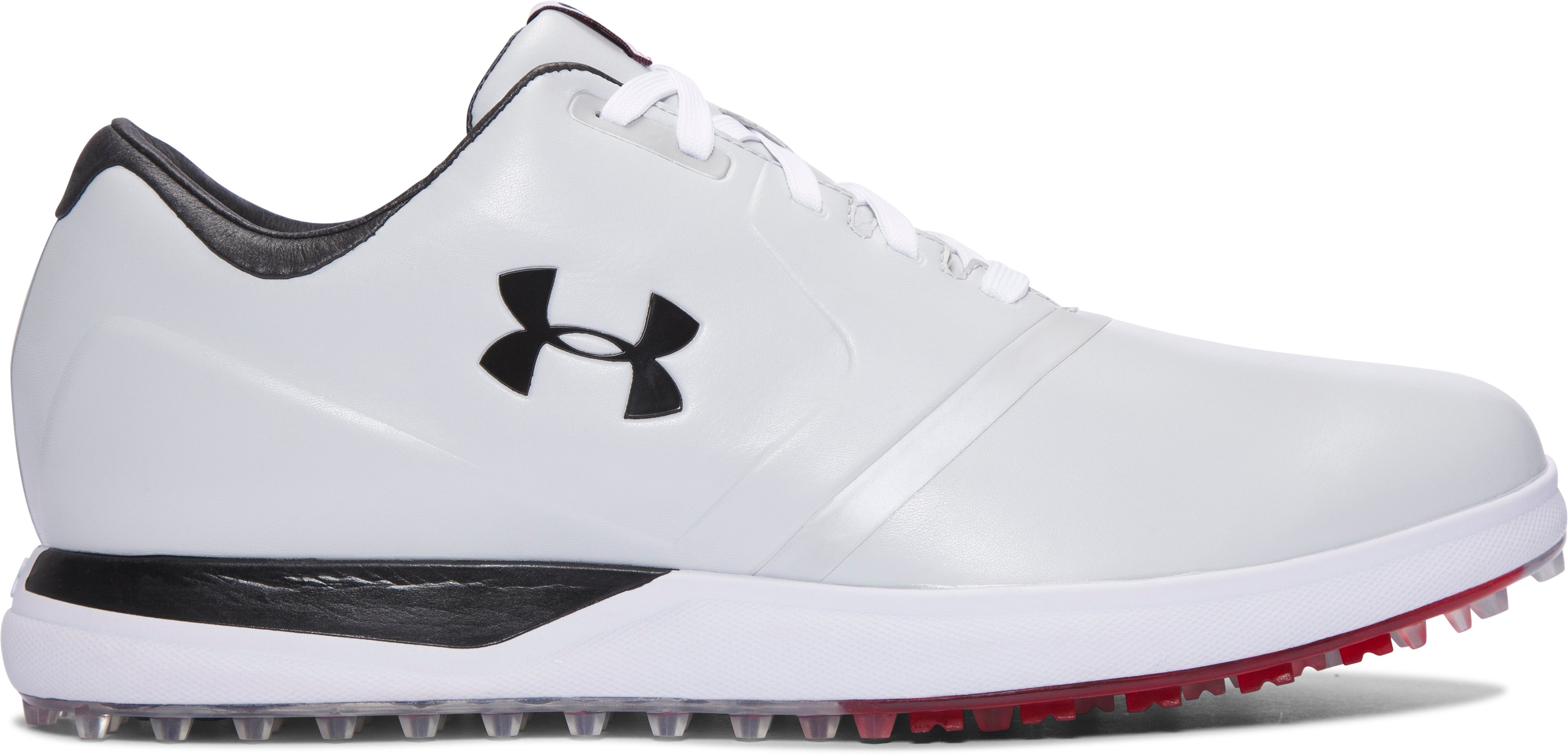 Men's UA Performance Spikeless Golf Shoes, White,