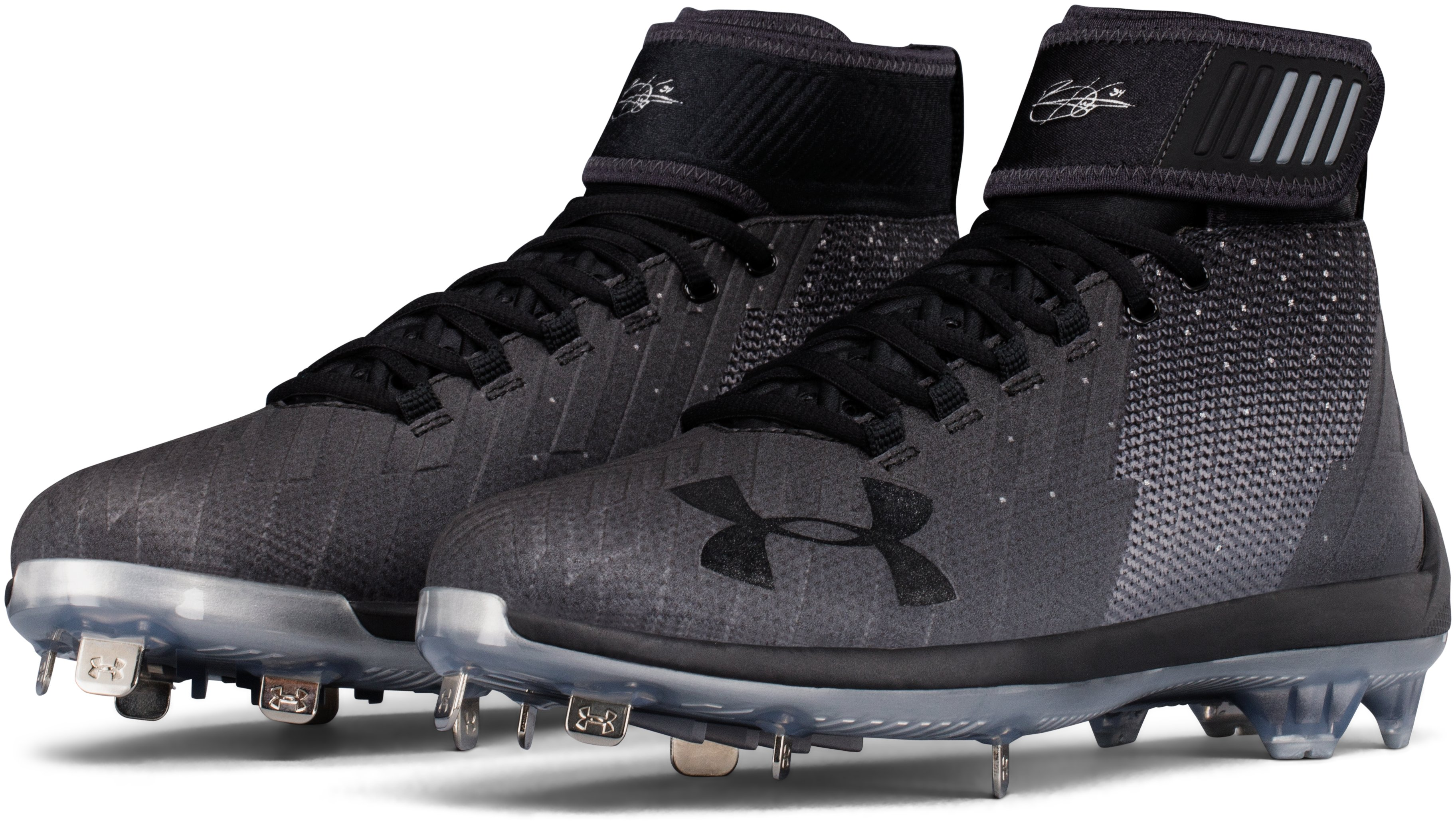 Men's UA Harper 2 Mid ST Baseball Cleats, Black , undefined