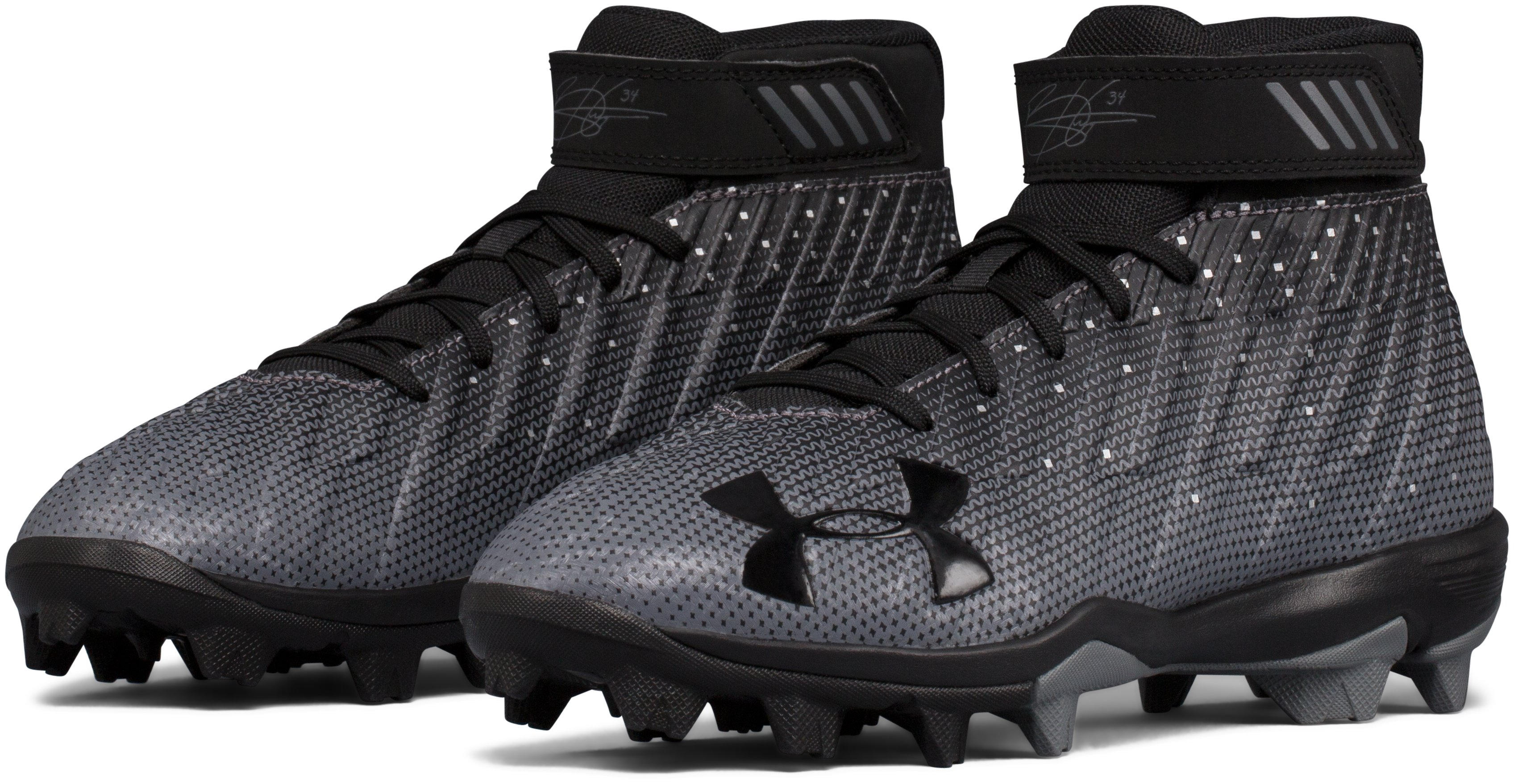 Boys' UA Harper 2 RM Jr. Baseball Cleats, Black ,