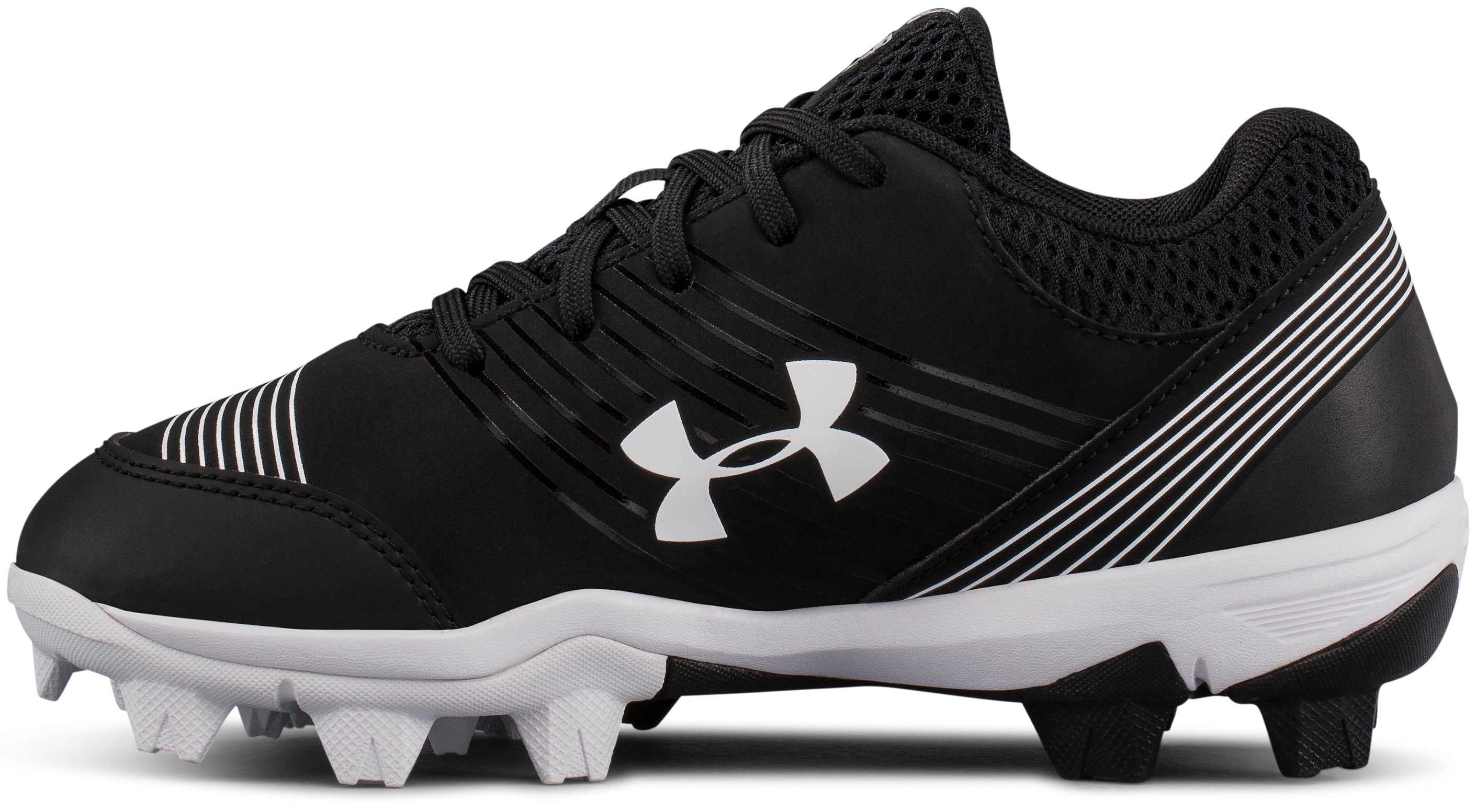 Girls' UA Glyde Jr. Rubber Molded Softball Cleats, Black ,