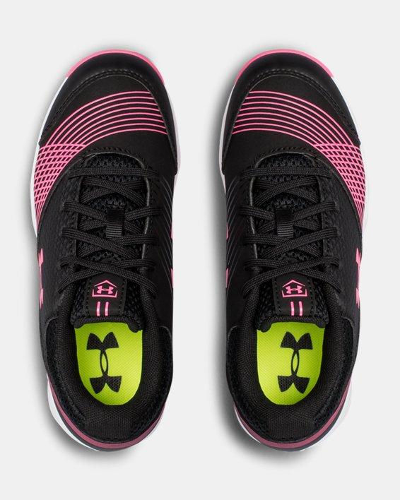 Girls' UA Glyde Jr. Rubber Molded Softball Cleats, Black, pdpMainDesktop image number 3