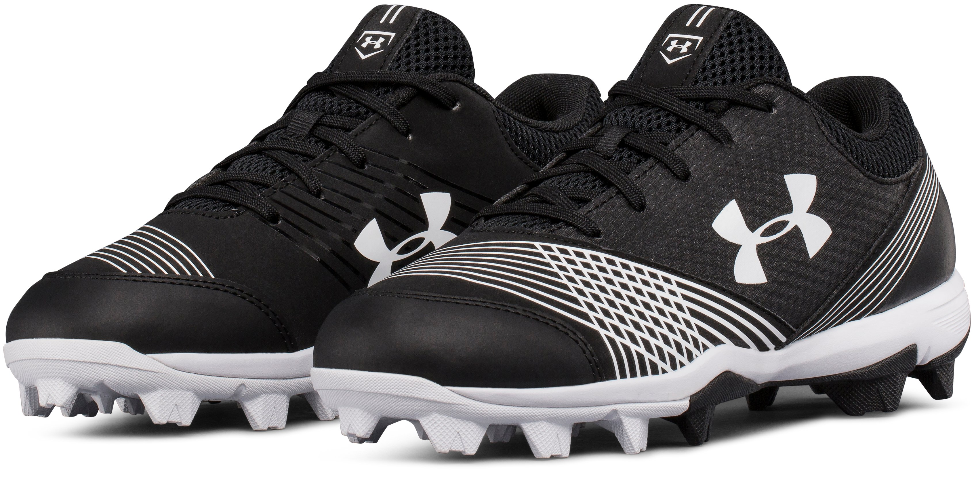 Women's UA Glyde Rubber Molded Softball Cleats, Black , undefined