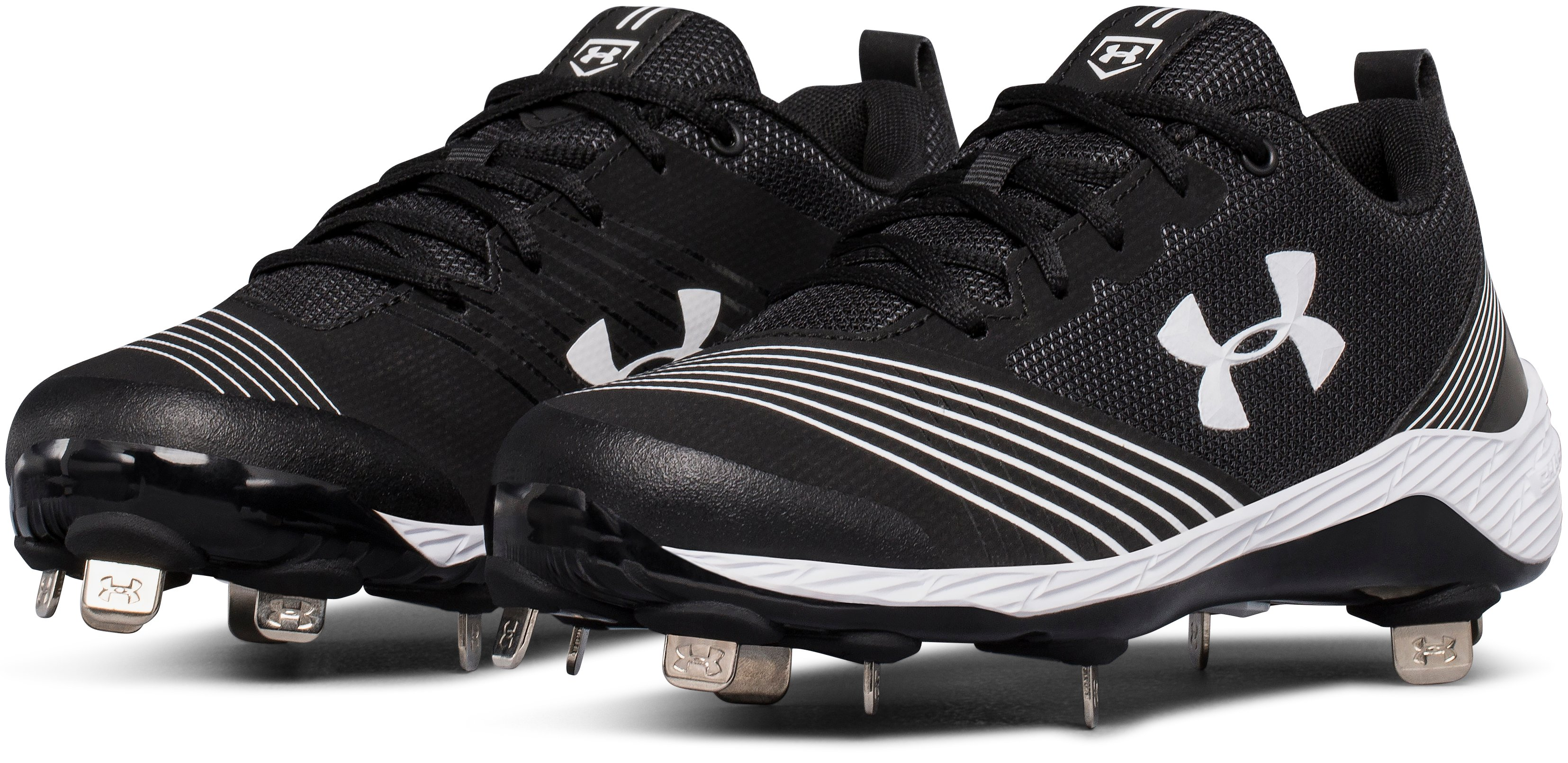 Women's UA Glyde Metal Softball Cleats, Black , undefined