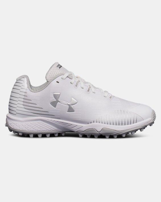 Women's UA Finisher Turf Lacrosse Shoes, White, pdpMainDesktop image number 0