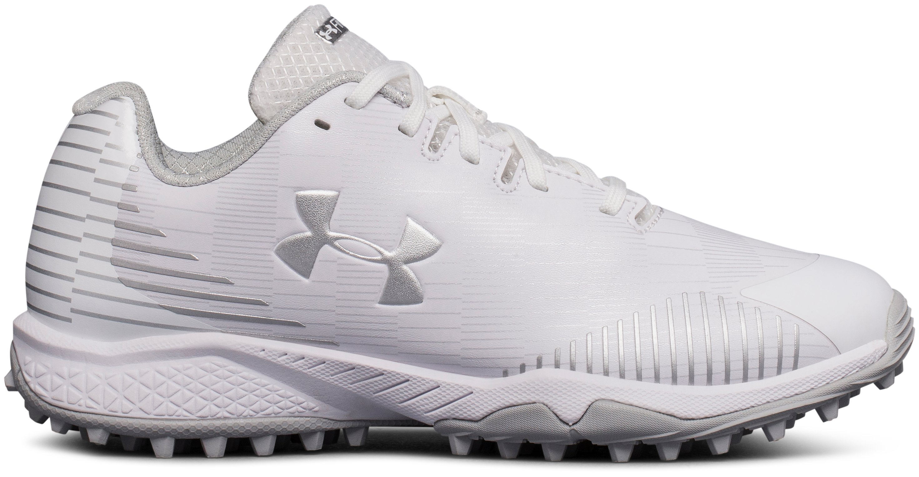 Women's UA Finisher Turf Lacrosse Shoes, White,