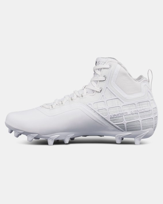 Men's UA Banshee Mid MC Lacrosse Cleats, White, pdpMainDesktop image number 1
