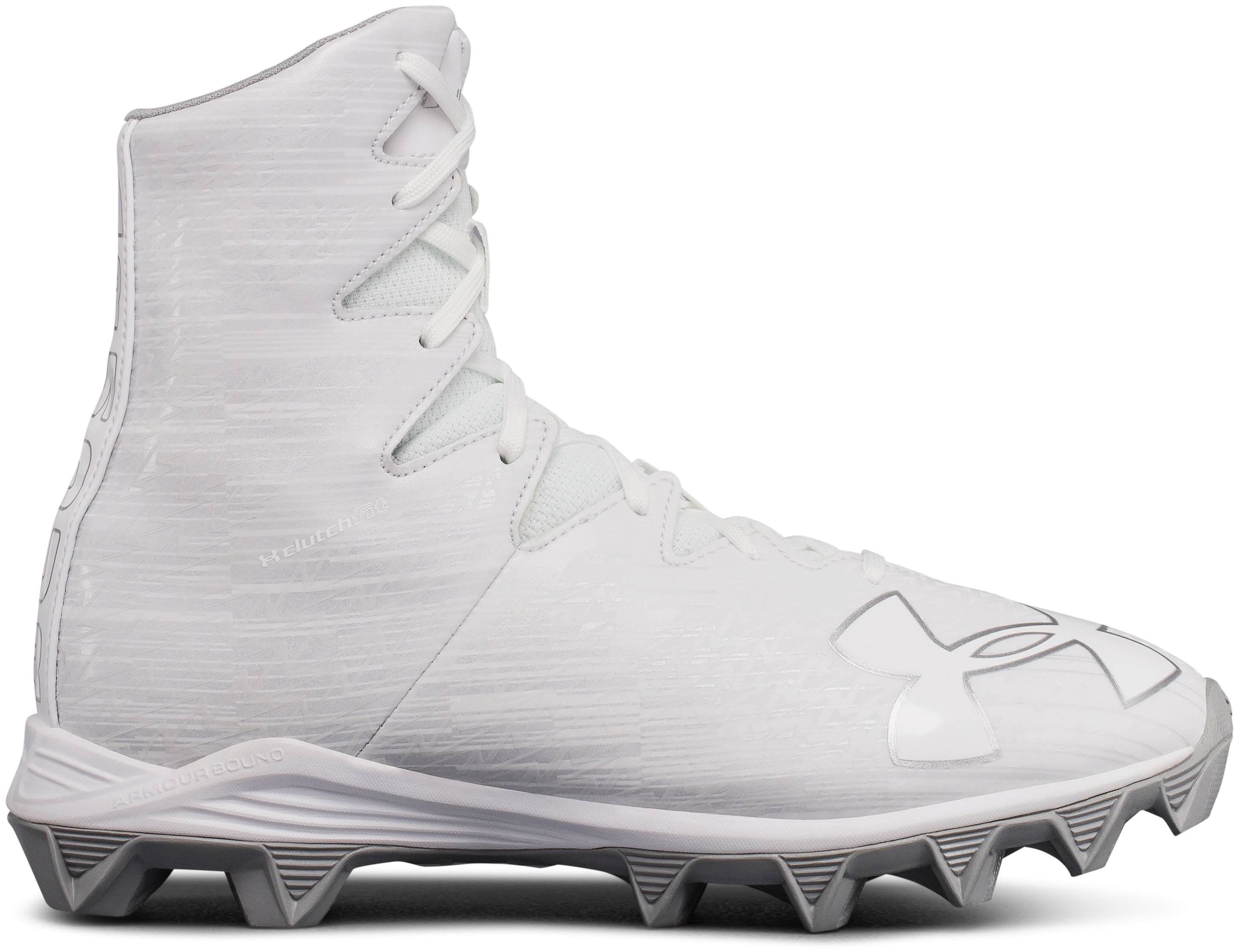 Boys' UA Highlight Jr. RM Lacrosse Cleats, White
