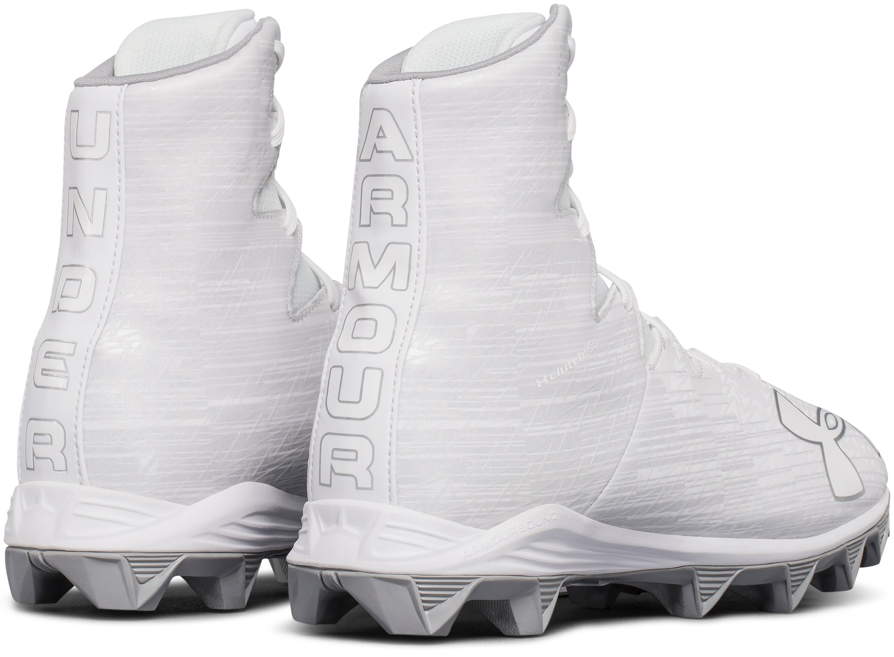 Boys' UA Highlight Jr. RM Lacrosse Cleats, White, undefined