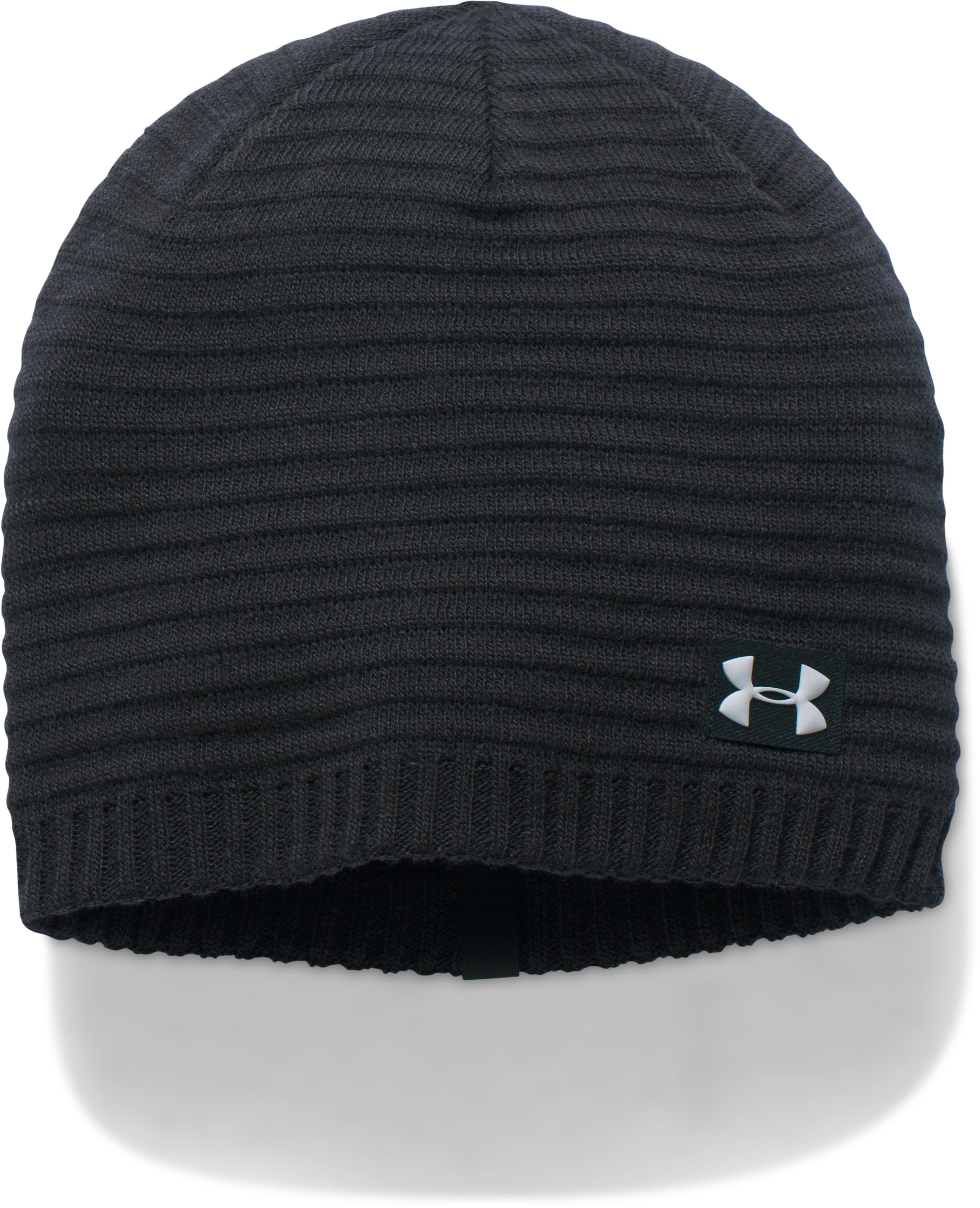 Men's UA Jacquard Knit Beanie, Black ,