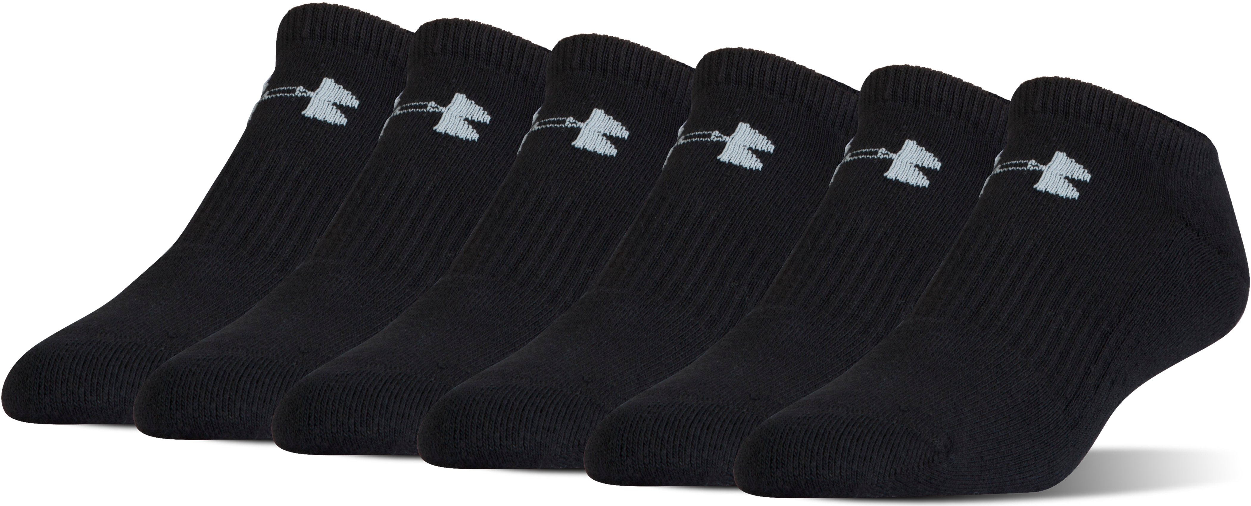 UA Charged Cotton® 2.0 No Show Socks – 6-Pack, Black