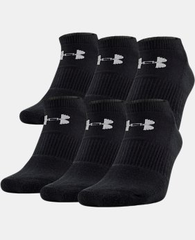 UA Charged Cotton® 2.0 No Show Socks – 6-Pack  1  Color Available $20