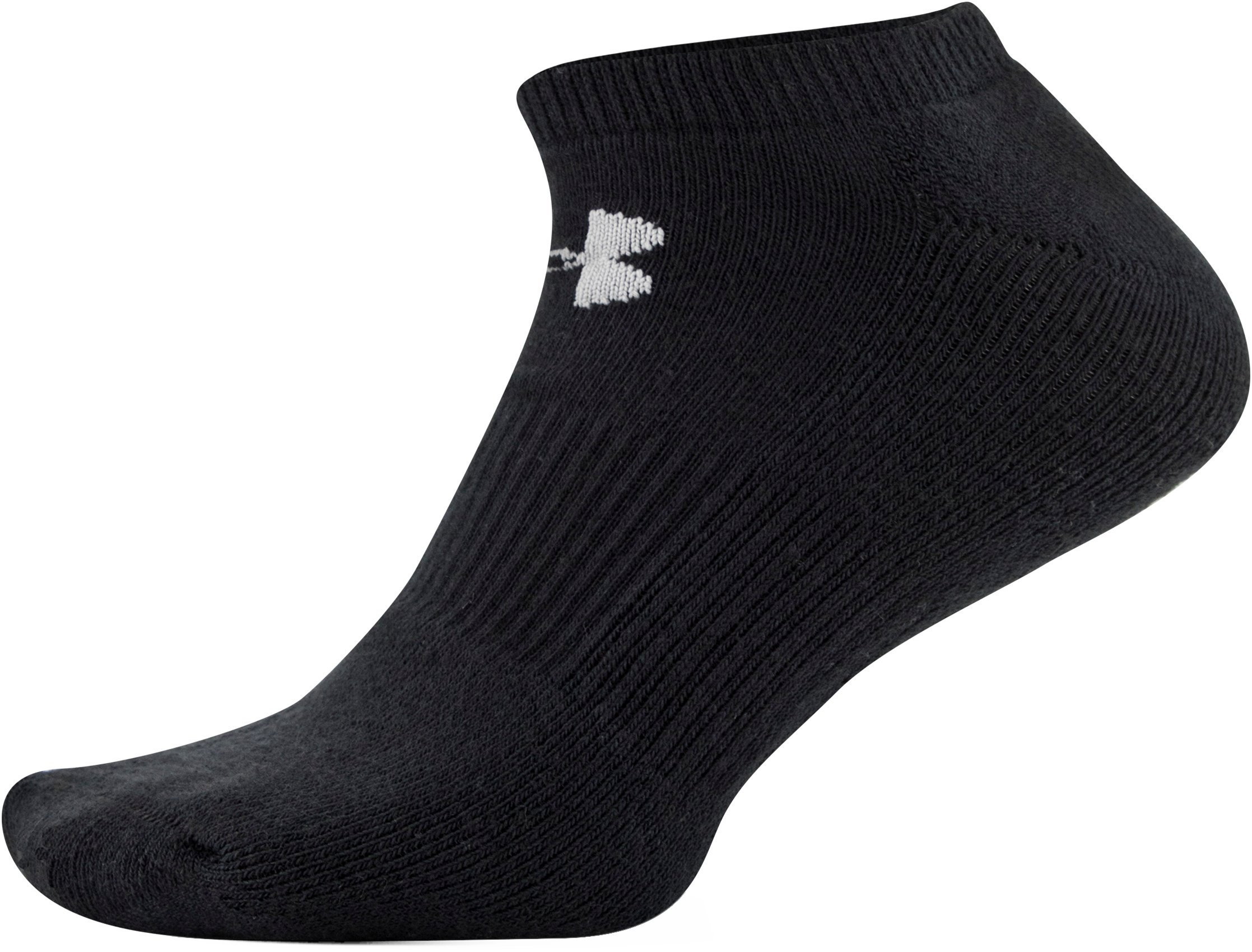 UA Charged Cotton® 2.0 No Show Socks – 6-Pack, Black ,