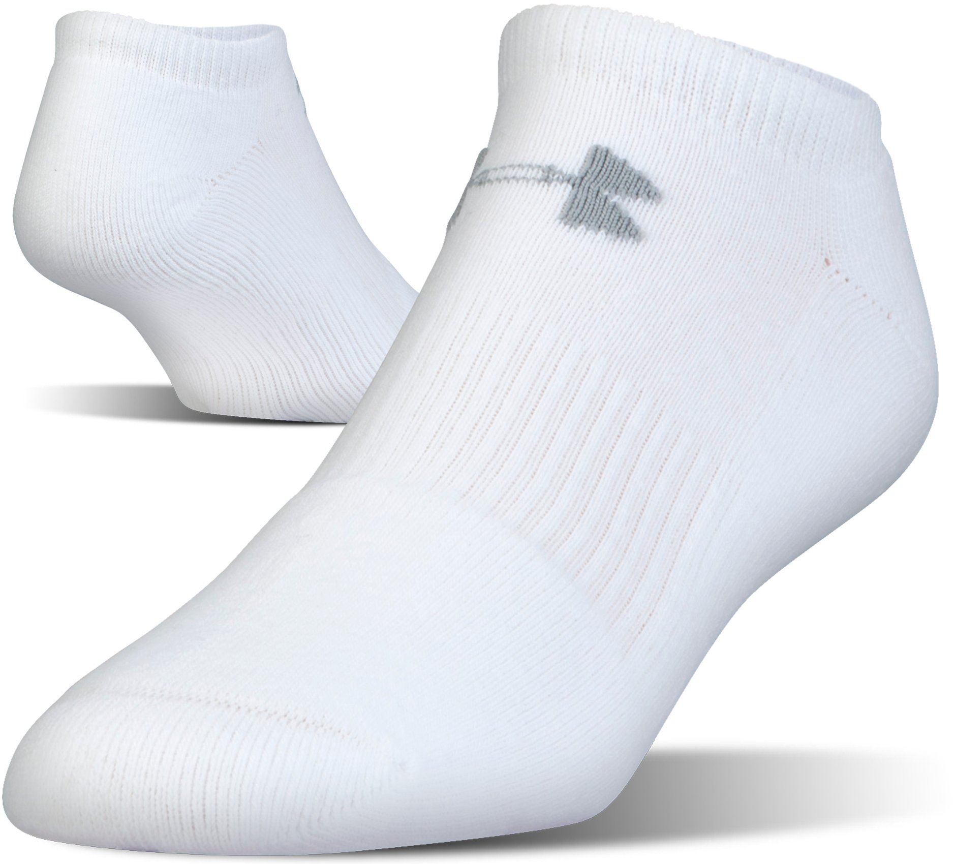 UA Charged Cotton® 2.0 No Show Socks – 6-Pack, White, undefined