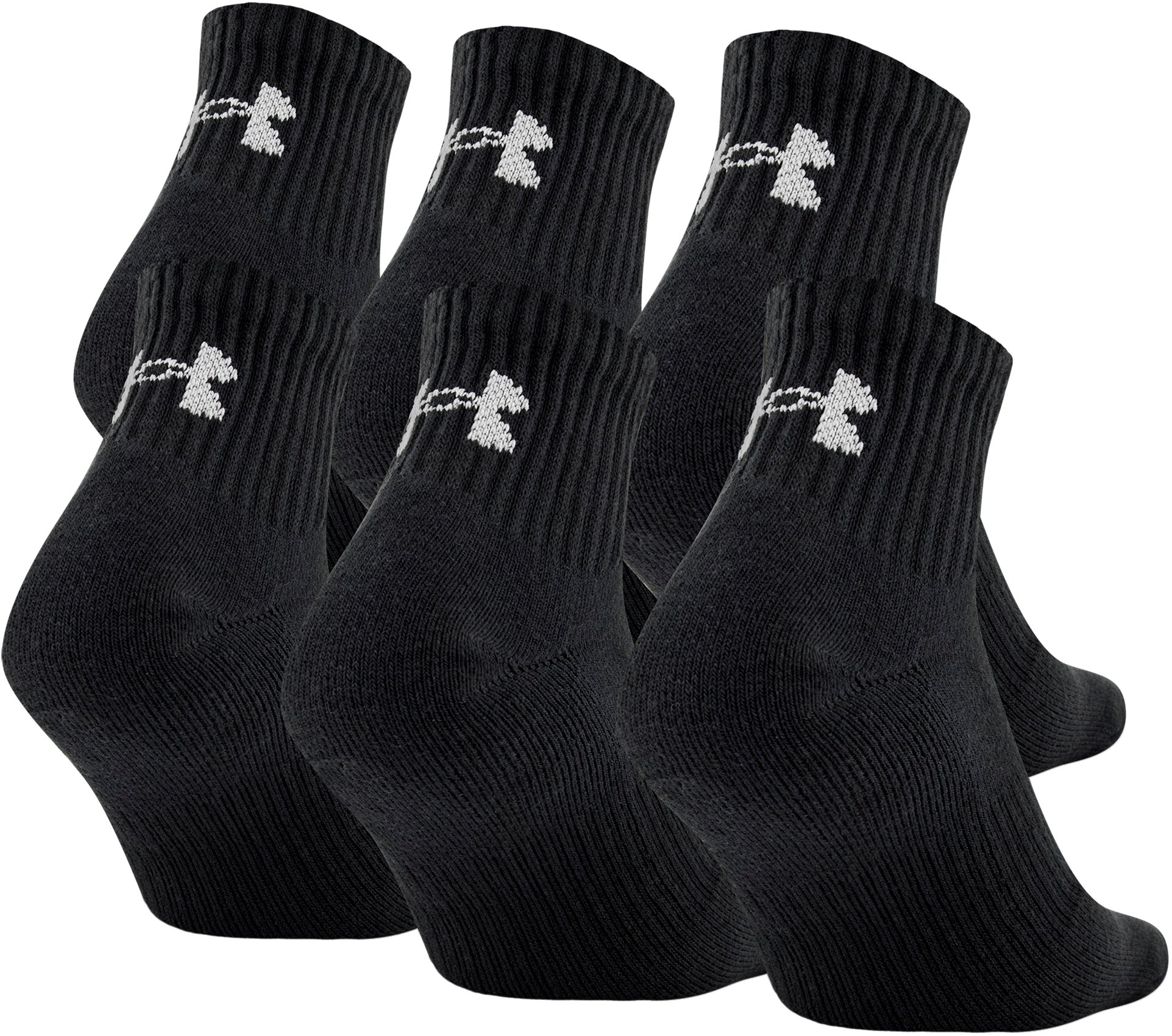 UA Charged Cotton® 2.0 Quarter Length Socks – 6-Pack, Black