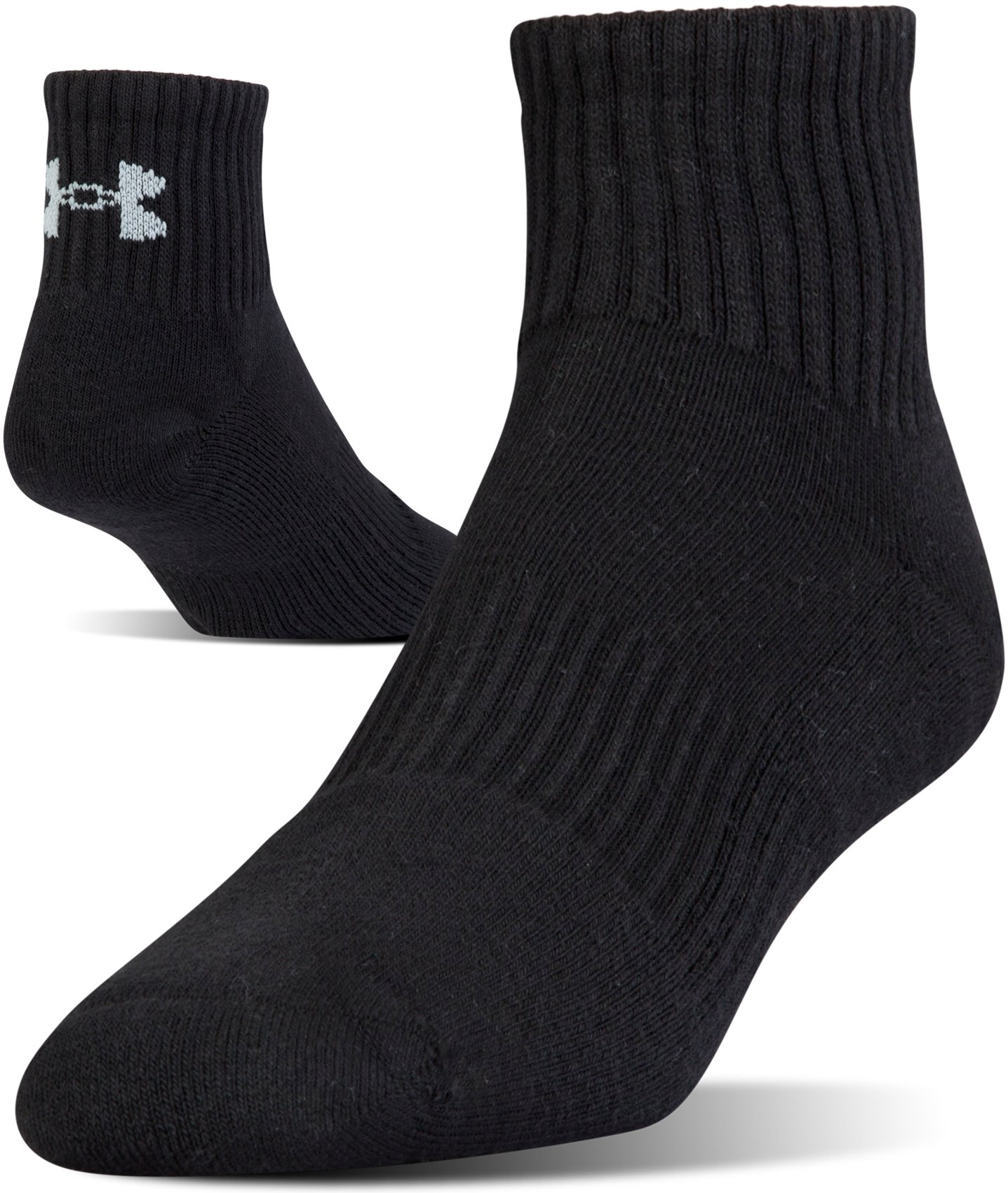 UA Charged Cotton® 2.0 Quarter Length Socks – 6-Pack, Black , undefined