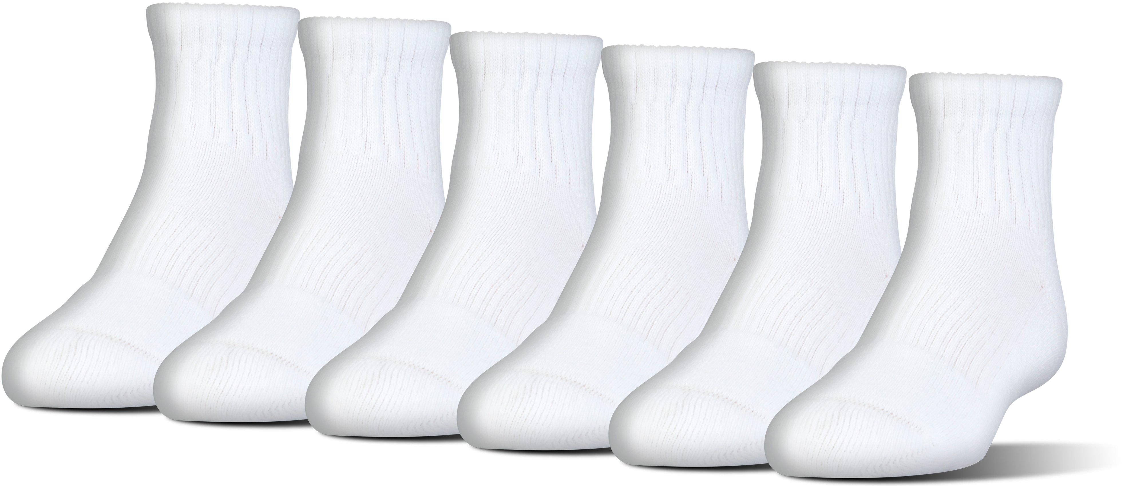 UA Charged Cotton® 2.0 Quarter Length Socks – 6-Pack, White