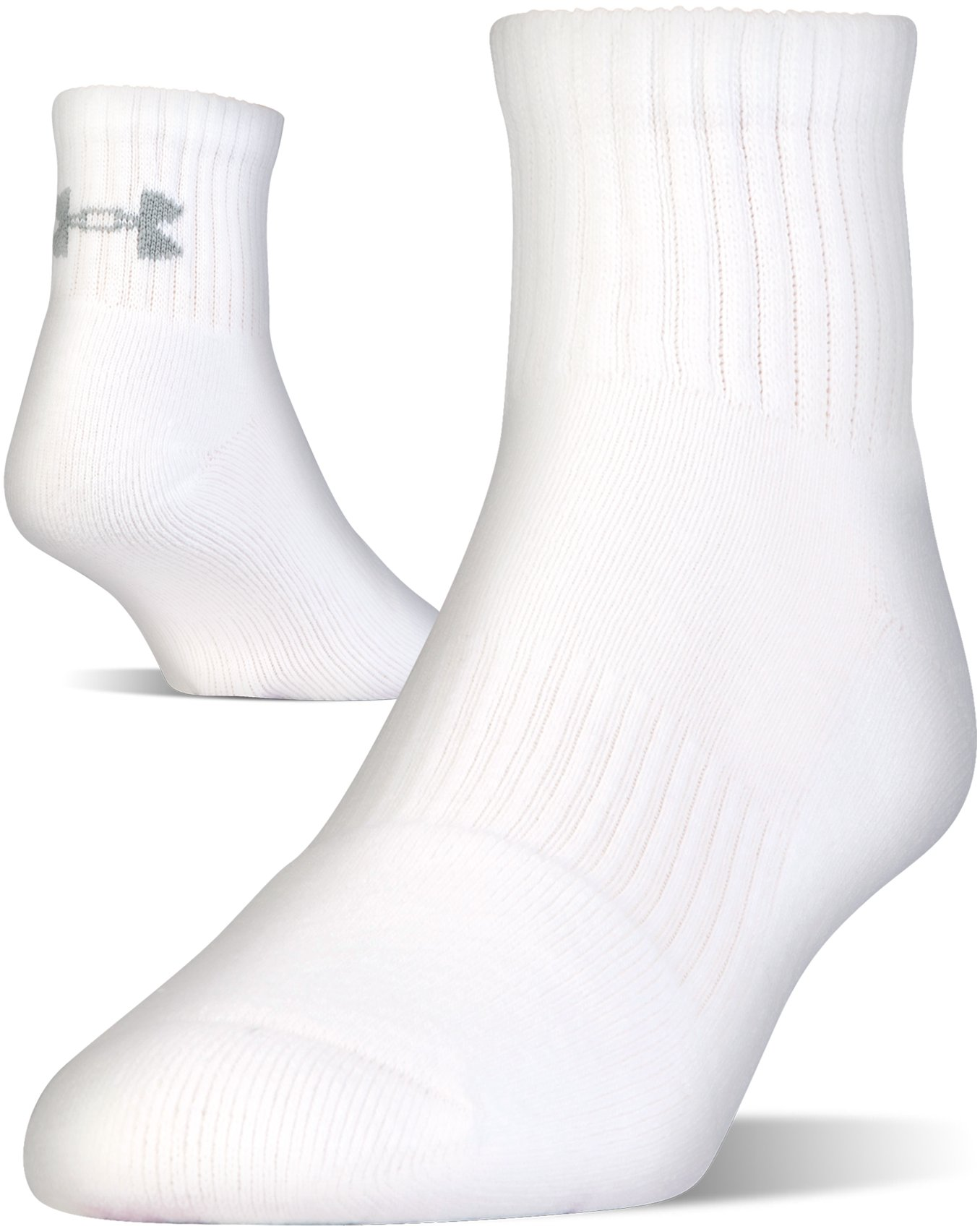 UA Charged Cotton® 2.0 Quarter Length Socks – 6-Pack, White, undefined